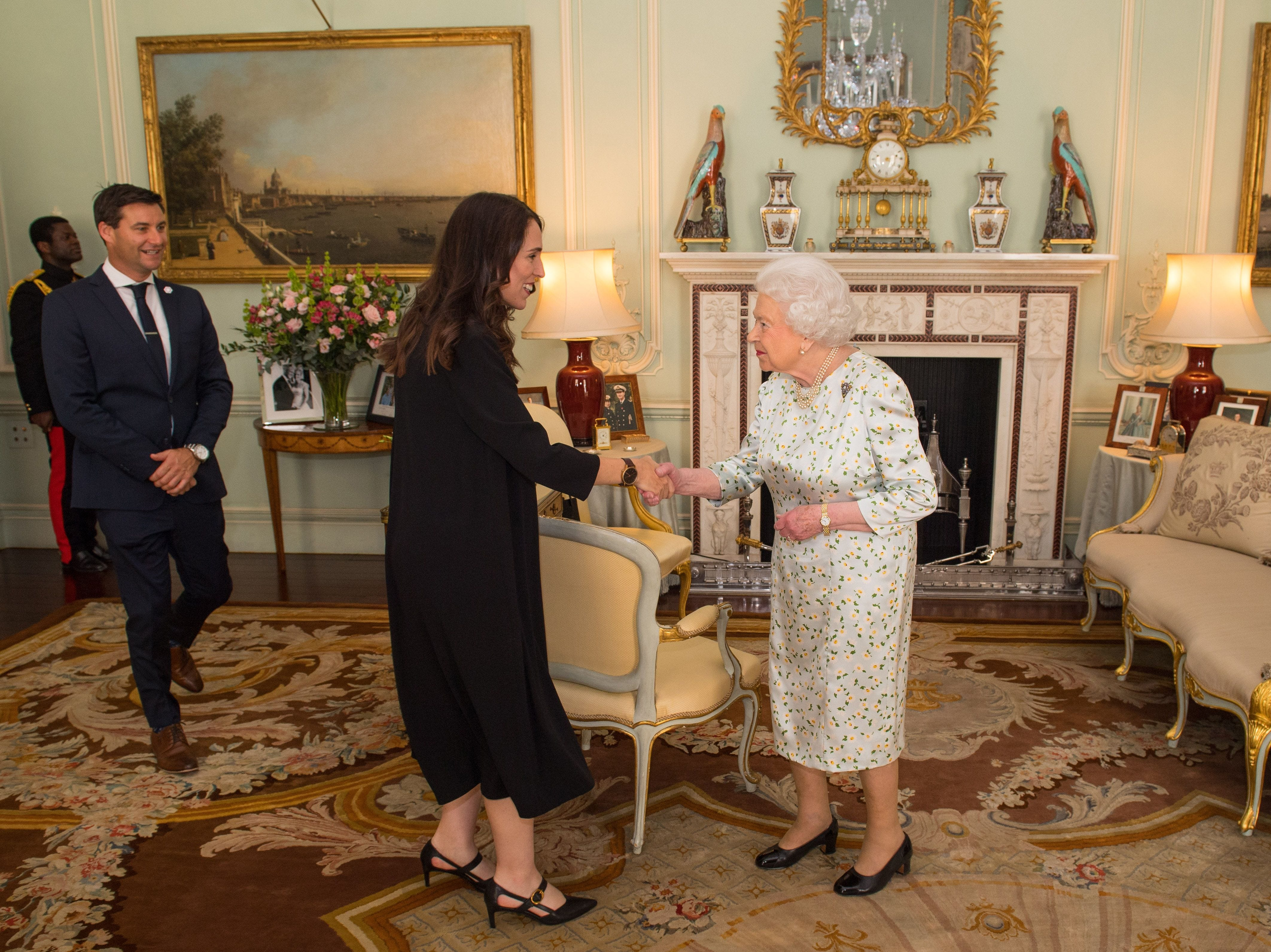 Prime Minister of New Zealand Jacinda Ardern  and her partner Clarke Gayford  are greeted by Britain's Queen Elizabeth II during a private audience at Buckingham Palace in London on April 19, 2018. Queen Elizabeth II, the Head of the Commonwealth opened the Commonwealth summit for what may be the last time today.