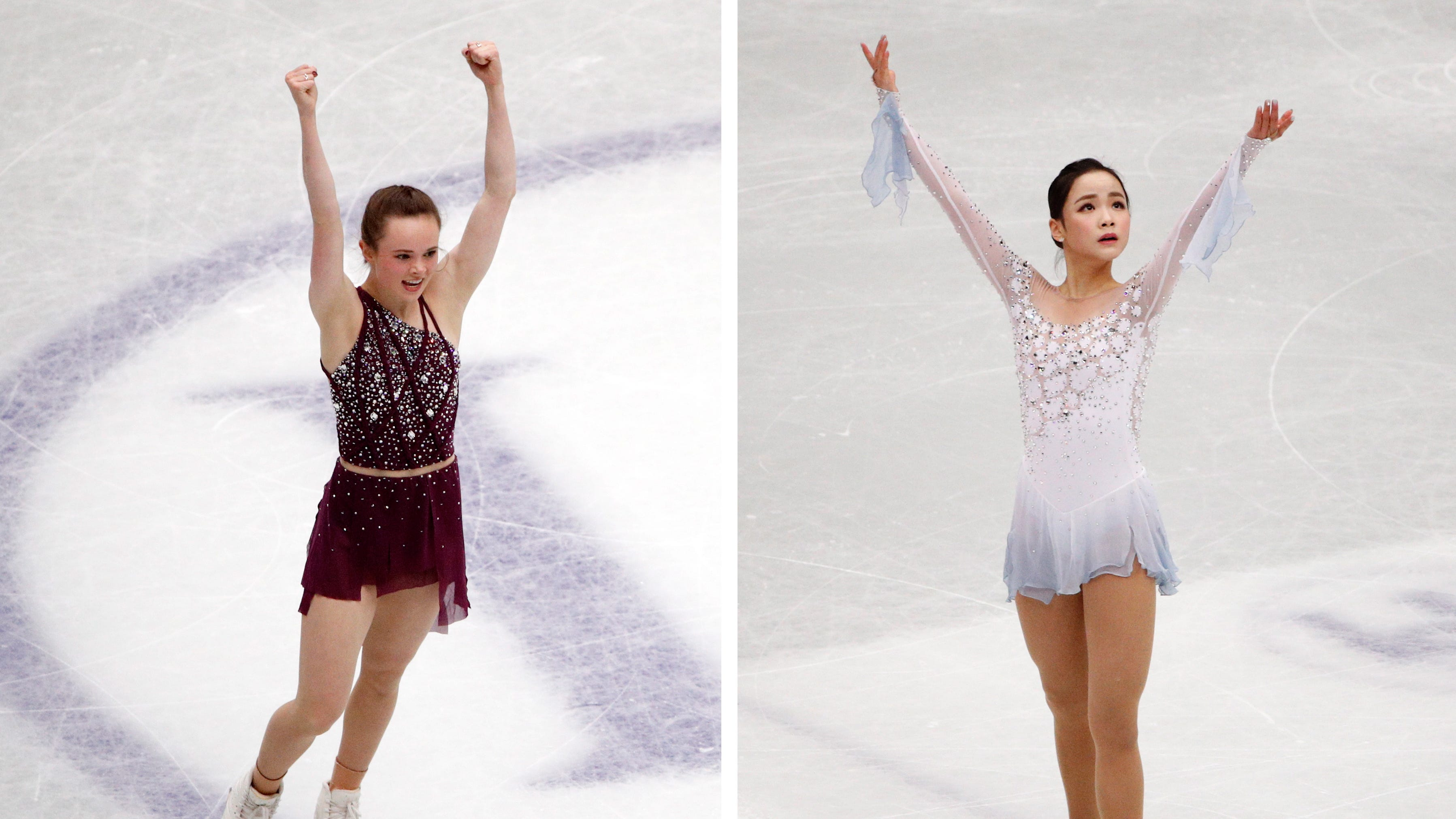 A composite file picture of Mariah Bell (left) of the USA and Eunsoo Lim (right) of South Korea performing during the  short program event of the 2019 ISU World Figure Skating Championships in Saitama, Japan, on March 20.