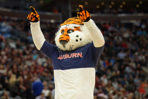 First round: Auburn Tigers mascot Aubie performs during the first half of the game against the New Mexico State Aggies.