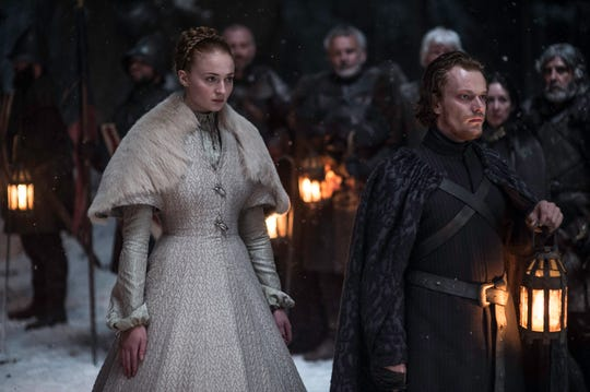 "Sophie Turner as Sansa Stark and Alfie Allen as Theon Greyjoy in the ""Unbowed, Unbent, Unbroken"" episode of ""Game of Thrones."""