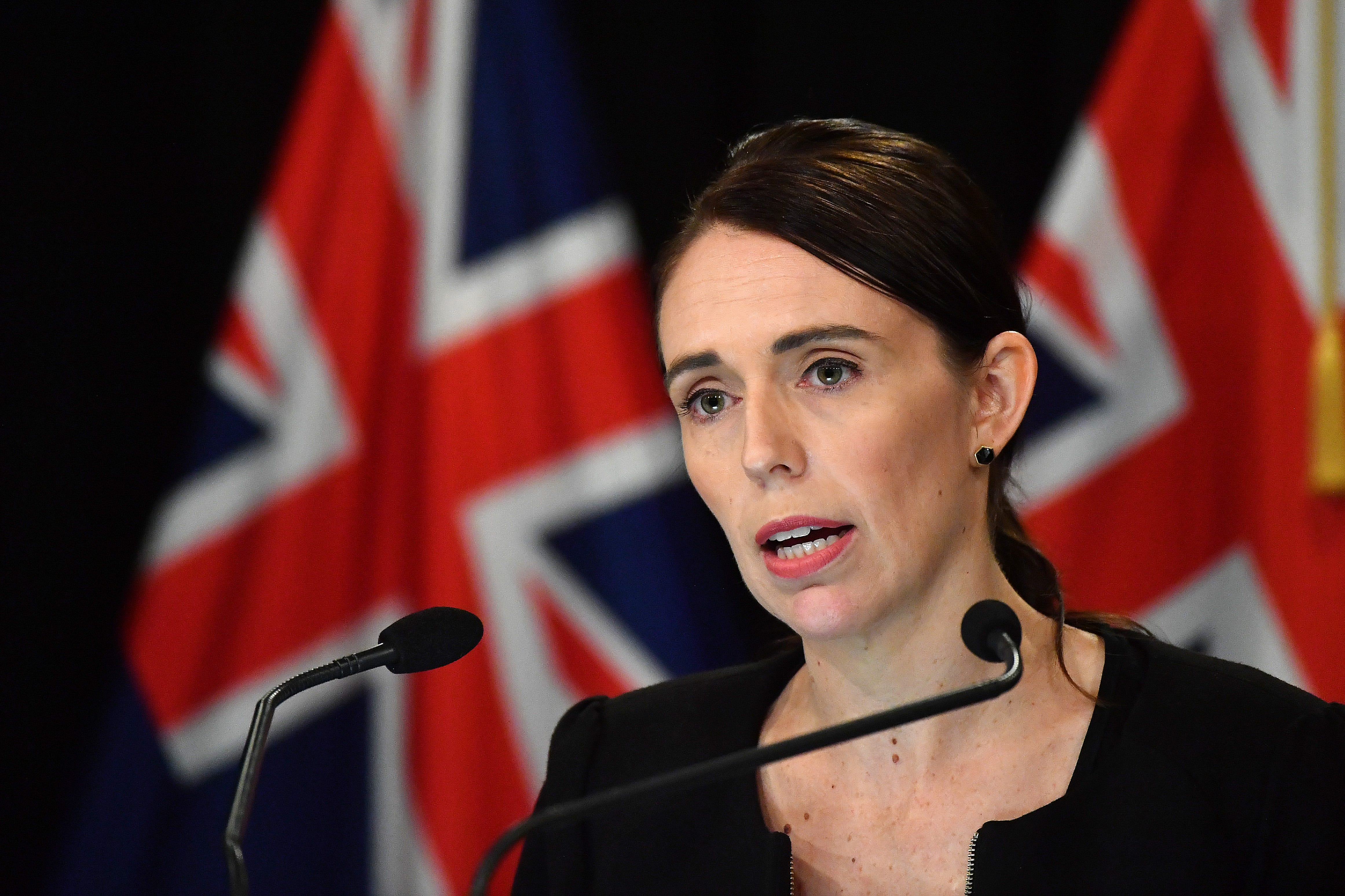 New Zealand Prime Minister Jacinda Ardern speaks to the media on March 16, 2019, in Wellington, New Zealand. At least 49 people are confirmed dead, with more than 40 people injured following attacks on two mosques in Christchurch on Friday afternoon. 41 of the victims were killed at Al Noor Mosque on Deans Avenue and seven died at Linwood mosque. Another victim died later in Christchurch hospital. Three people are in custody over the mass shootings. An Australian man has been charged with murder and will appear in court today.