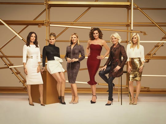 """Ramona Singer, third left, has apologized to """"Real Housewives"""" co-star Bethenny Frankel, left, for a """"thoughtless"""" comment she made about her ex-boyfriend Dennis Shields, who died of an apparent prescription drug overdose last August. (From left:  Frankel, Sonja Morgan, Singer, Luann de Lesseps, Dorinda Medley, Tinsley Mortimer)"""
