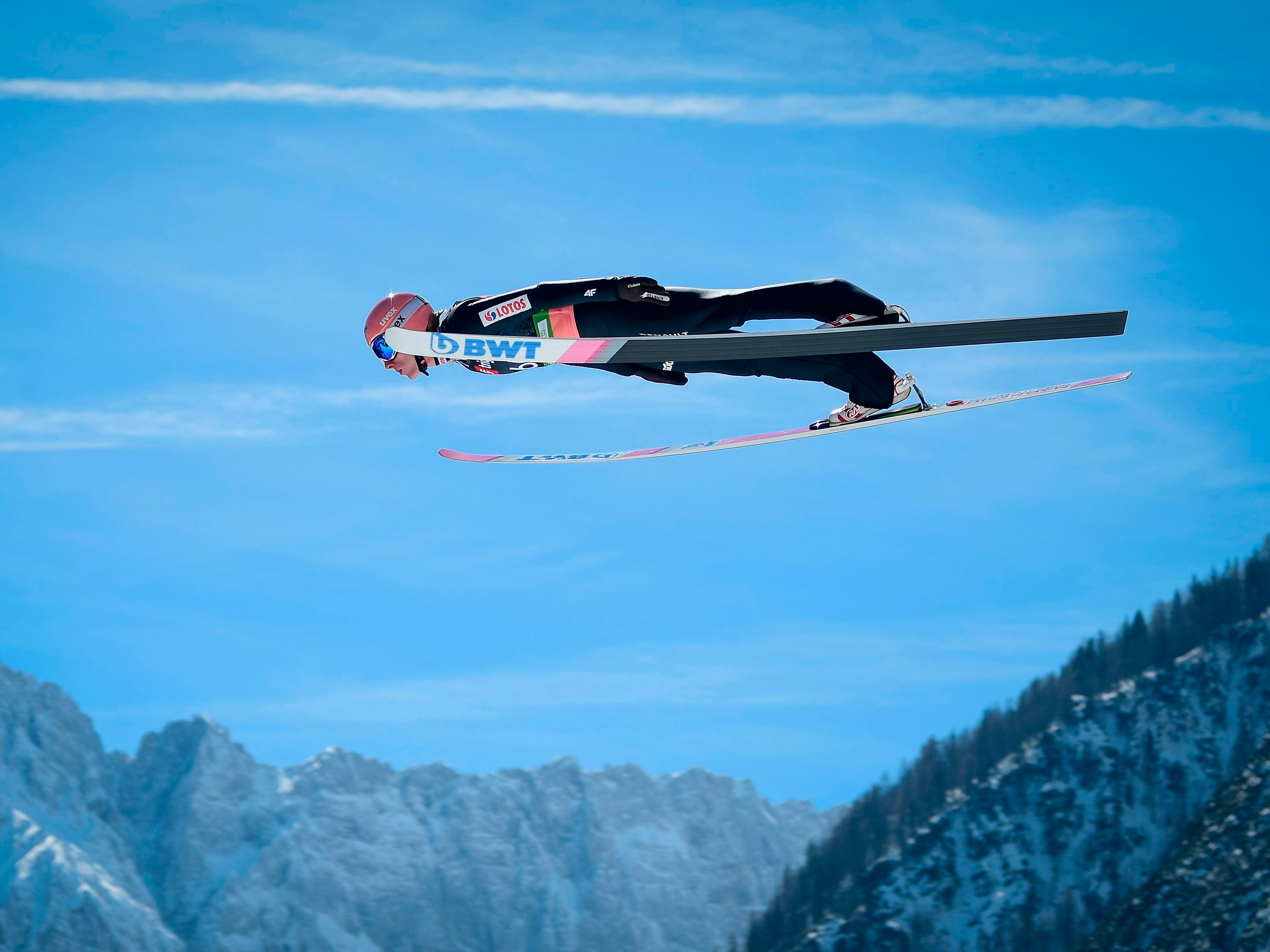 Dawid Kubacki of Poland  competes during the qualifying round of the FIS Ski Jumping World Cup Men's Flying Hill Individual competition in Planica, Slovenia, on March 21, 2019.