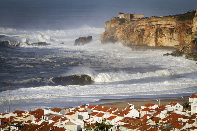 Nazare, Portugal, has what many consider to be the largest waves in the world, cresting as high as 80 feet.