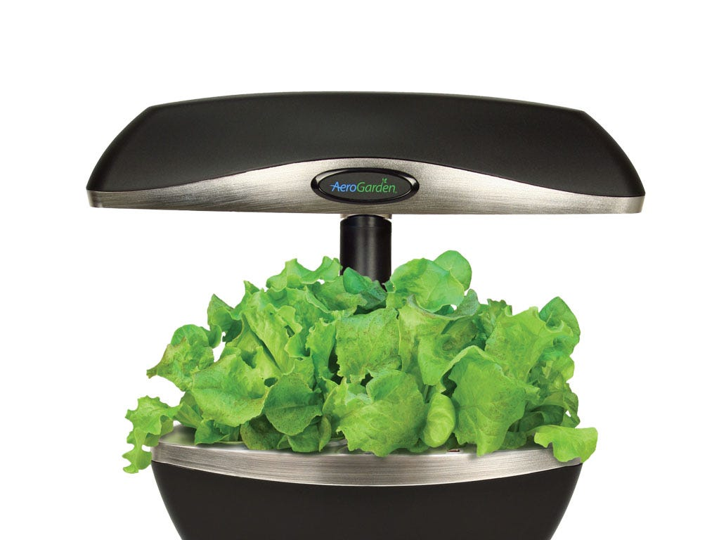 This smart counter top garden uses water and patented nutrients to naturally grow plants.