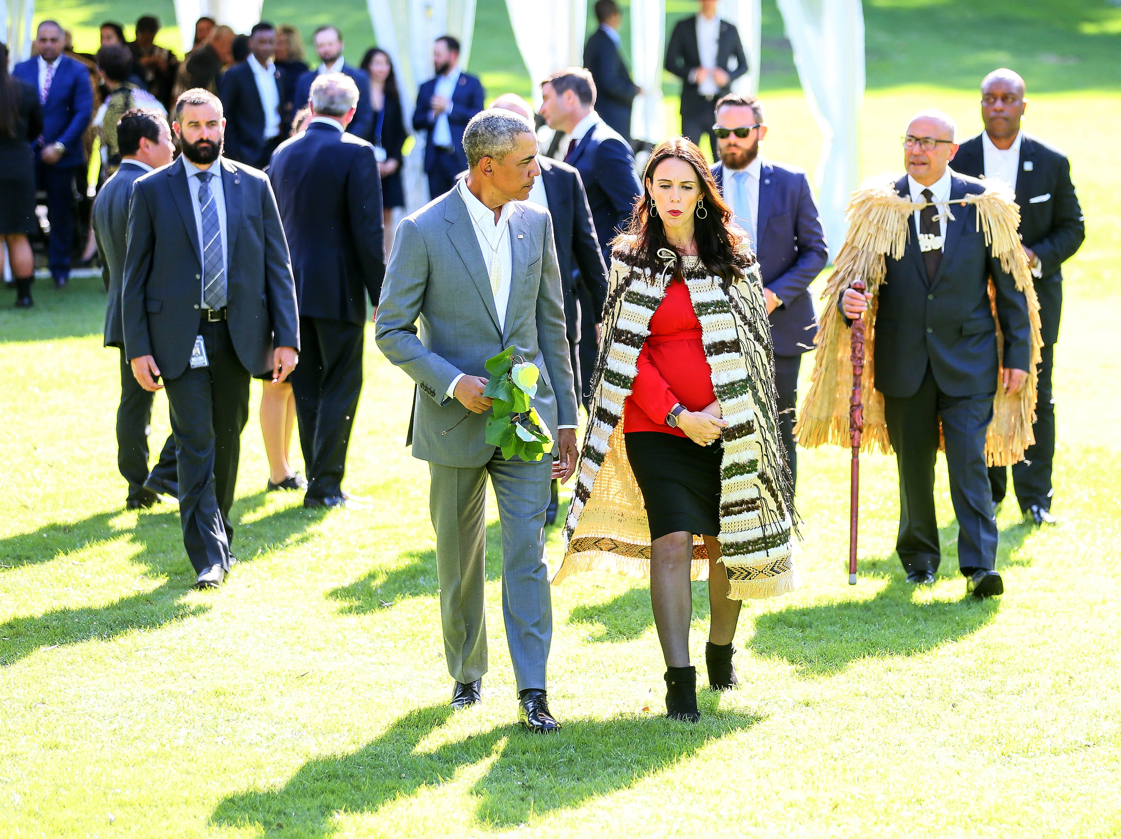 Barack Obama attends a powhiri with New Zealand Prime Minister Jacinda Ardern at Government House on March 22, 2018 in Auckland, New Zealand. It is the former US president's first visit to New Zealand, where he will be giving a a series of talks. Obama will also meet New Zealand prime minister Jacinda Ardern and former PM John Key during his visit.