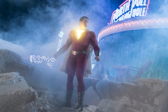 "Zachary Levi wears the light-up supersuit of the title hero in ""Shazam!"""