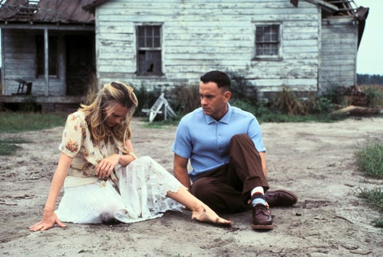 "Robin Wright (Jenny Curran) and Tom Hanks (Forrest Gump) in a scene from ""Forrest Gump."""