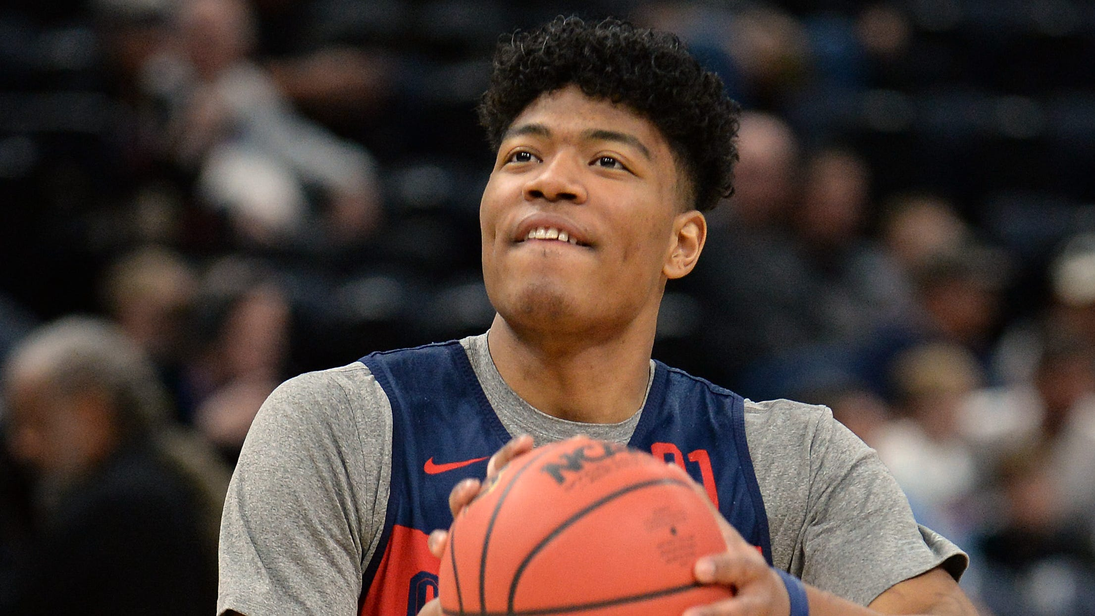 March 20, 2019; Salt Lake City, UT, USA; Gonzaga Bulldogs forward Rui Hachimura (21) shoots during practice before the first round of the 2019 NCAA Tournament at Vivint Smart Home Arena. Mandatory Credit: Gary A. Vasquez-USA TODAY Sports ORG XMIT: USATSI-401045 ORIG FILE ID:  20190320_gav_sv5_054.jpg