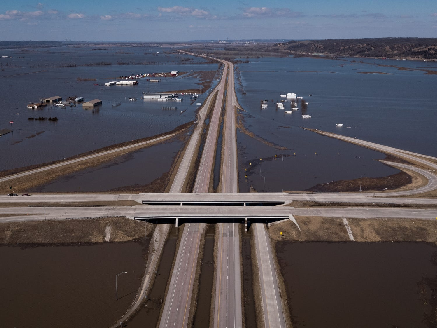 I-29 at the intersection of Highway 34, flood waters continue to overwhelm the surrounding communities on March 20, 2019, in Mills County, Iowa.