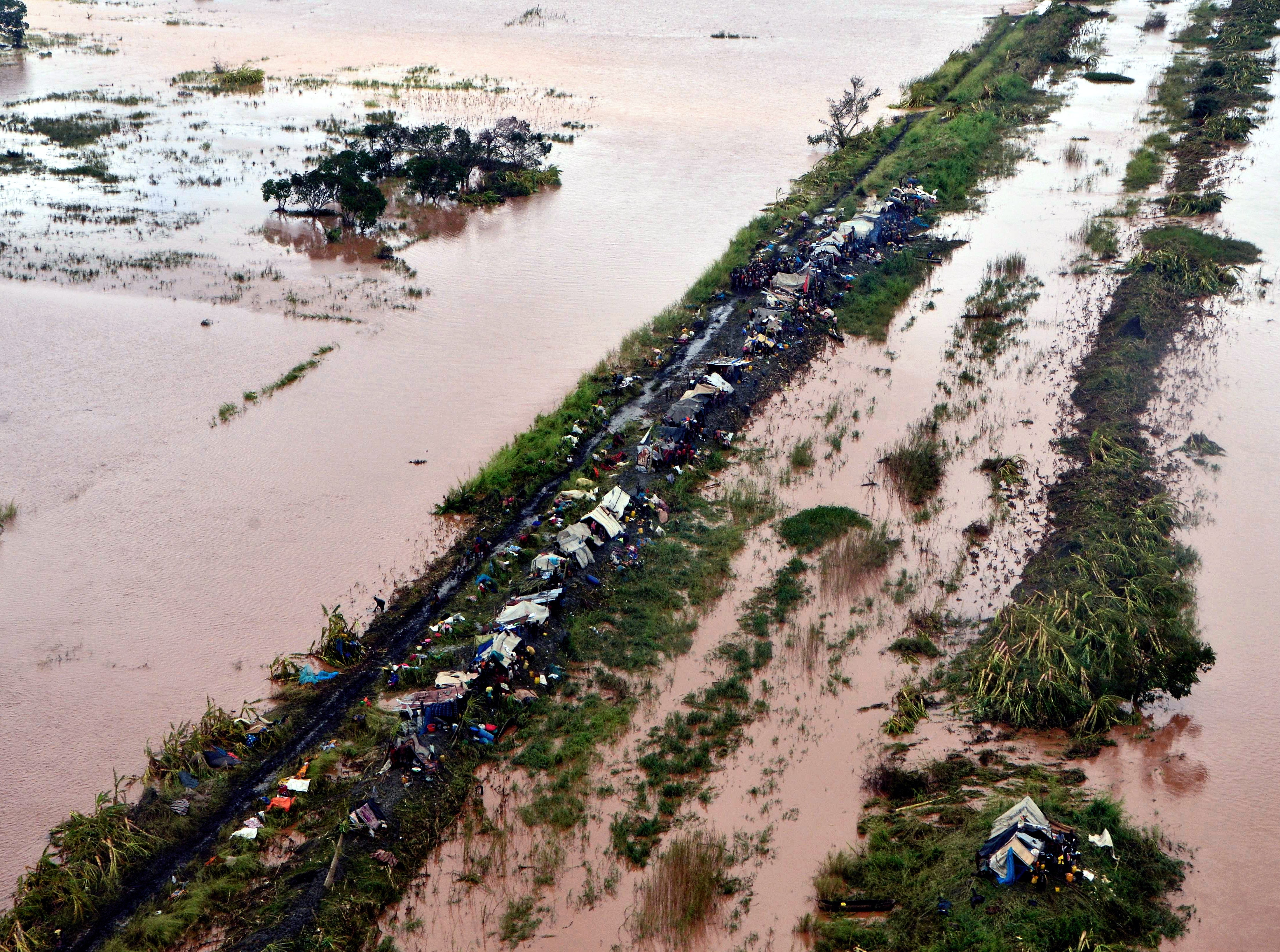 An aerial view shows damage from the flood waters after Cyclone Idai made landfall in Sofala Province, Central Mozambique. Authorities fear the number of people dead could be more than 1,000, and hundreds are still missing in Zimbabwe after the tropical cyclone, according to data from the UN Office of Humanitarian Affairs (OCHA).