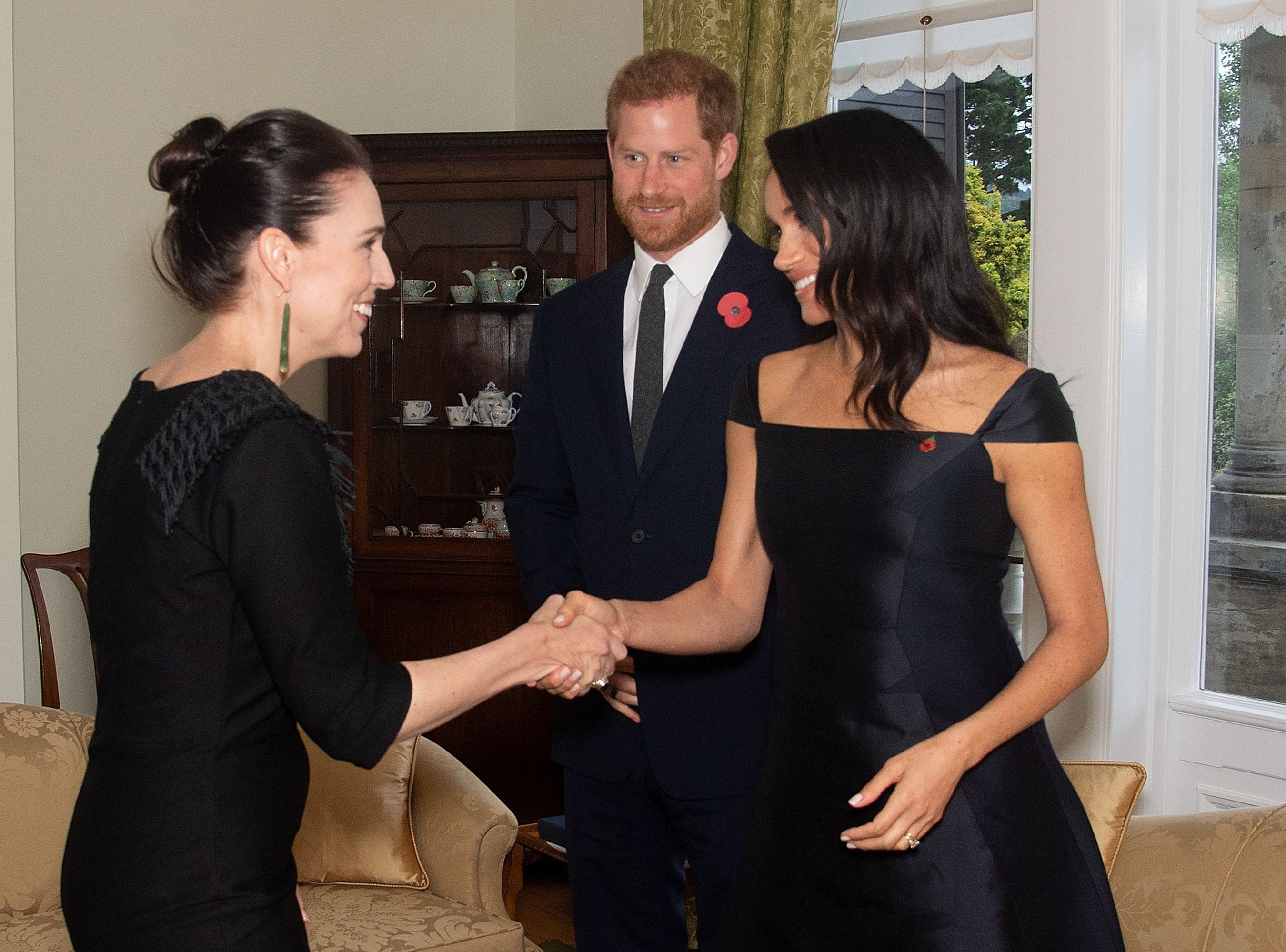 Prince Harry, Duke of Sussex, and Meghan, Duchess of Sussex,  meet with Prime Minister of New Zealand Jacinda Ardern during a call by the Prime Minister at Government House on Oct. 28, 2018 in Wellington, New Zealand.