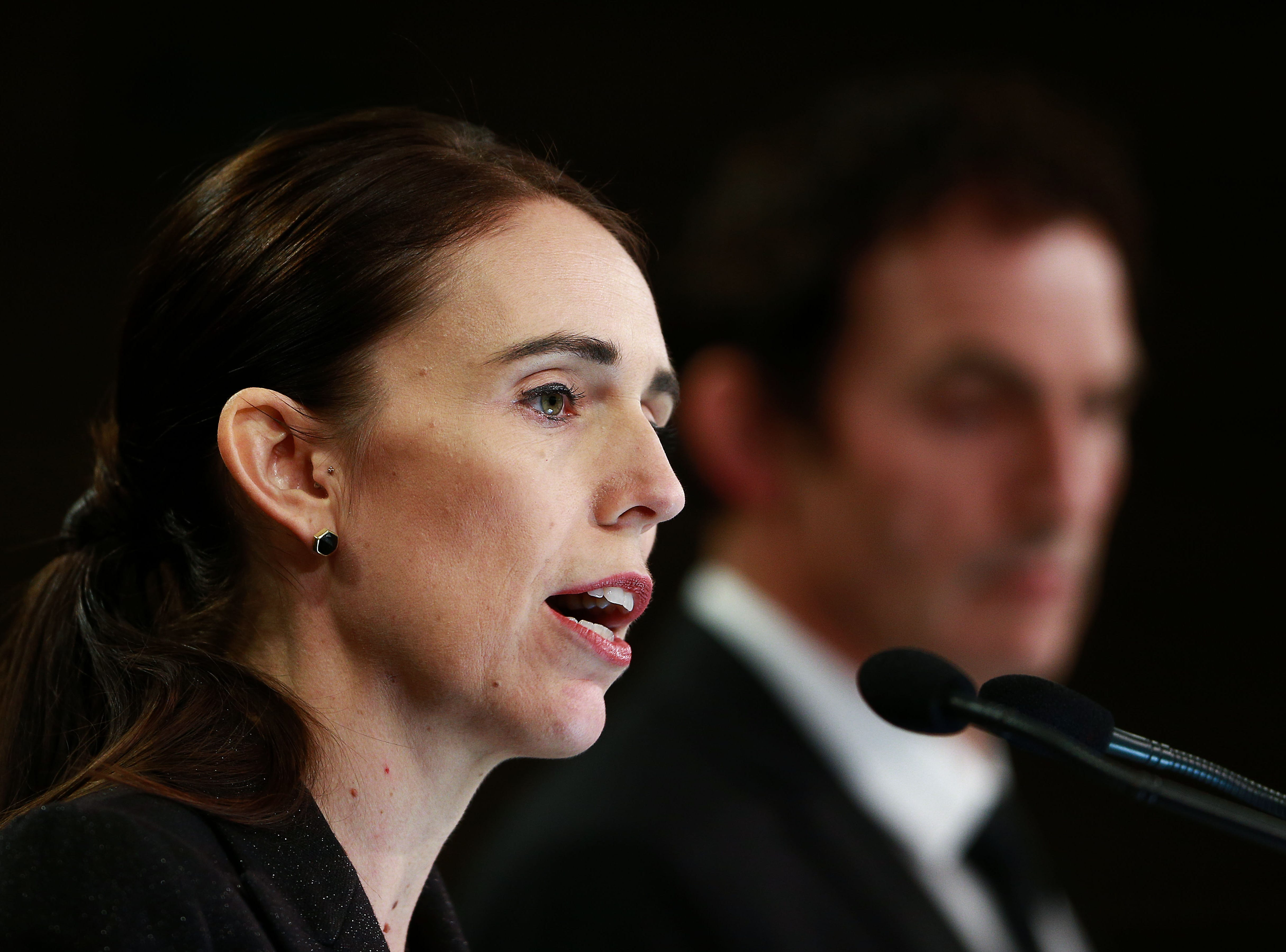 Prime Minister Jacinda Ardern and Minister of Police Stuart Nash speak to media during a press conference at Parliament on March 21, 2019 in Wellington, New Zealand. Prime Minister Jacinda Ardern announced today that New Zealand will ban all military style semi-automatics and assault rifles. The new law follows attacks in which 50 people were killed, and dozens injured after a gunman opened fire on two mosques in Christchurch on Friday, 15 March. The accused attacker, 28-year-old Australian, Brenton Tarrant, has been charged with murder and remanded in custody until April 5. The attack is the worst mass shooting in New Zealand's history.