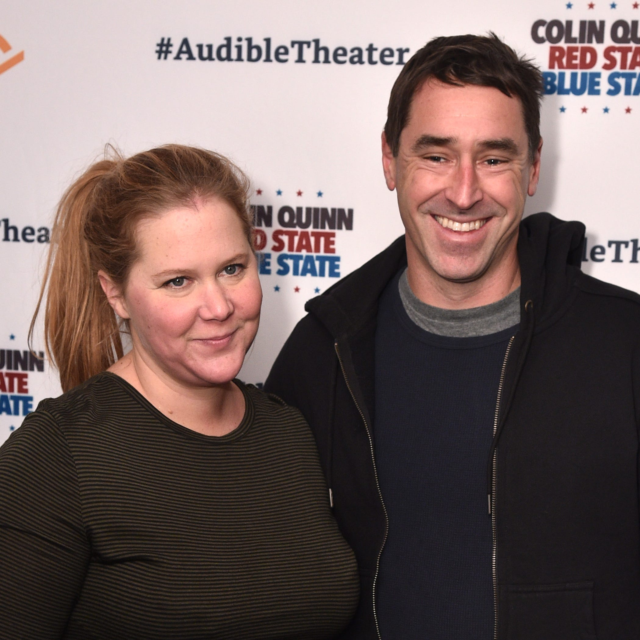 "Amy Schumer and Chris Fischer attend the Opening Night for Colin Quinn's ""Red State Blue State"" on Jan. 22, 2019 in New York City."