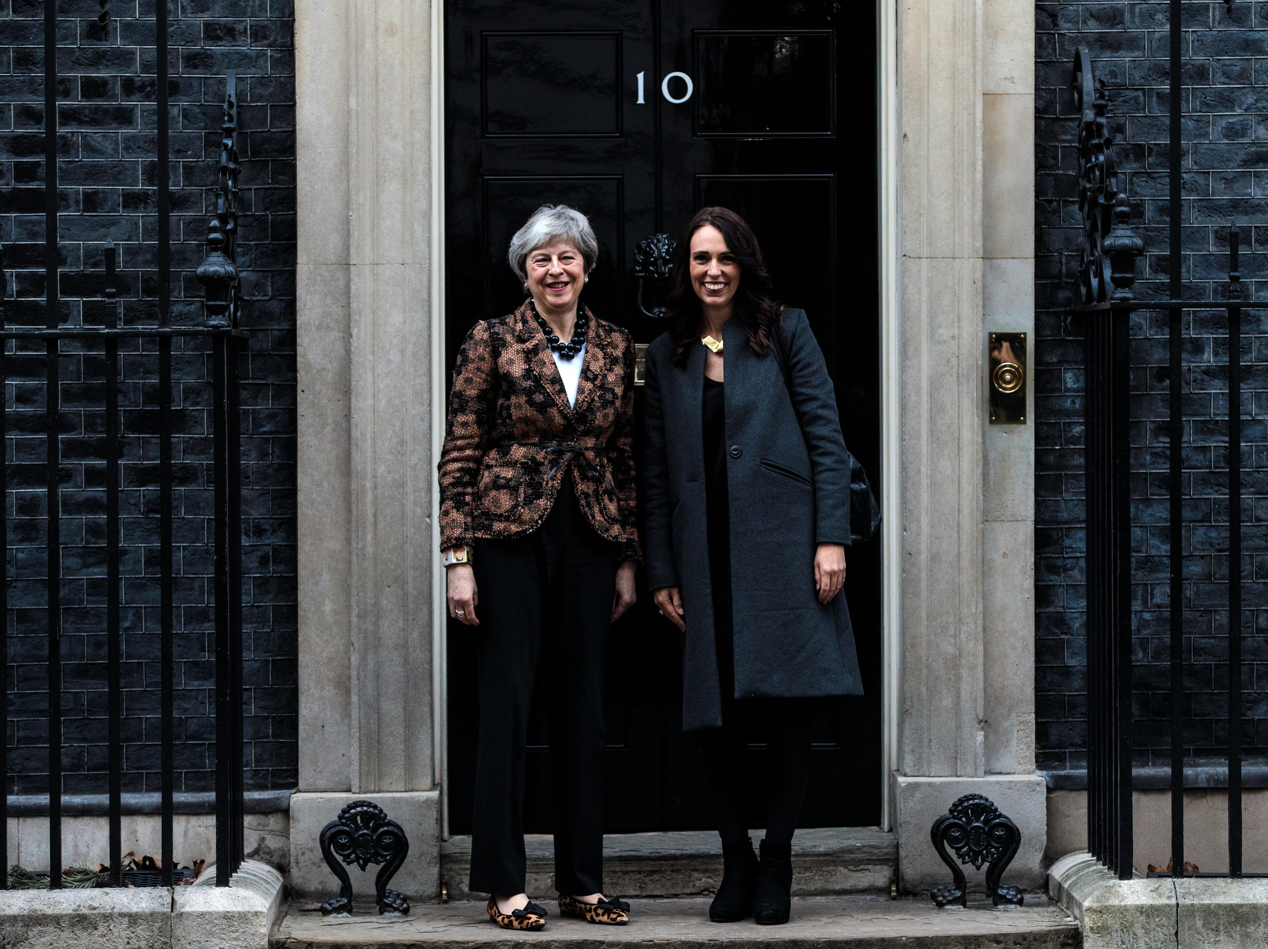 Theresa May greets Prime Minister of New Zealand Jacinda Ardern outside Number 10 Downing Street on Jan. 21, 2019 in London, England. Britain is one of New Zealand's largest bilateral trading partners and Ardern says she is concerned about Britain potentially leaving the EU without a deal.