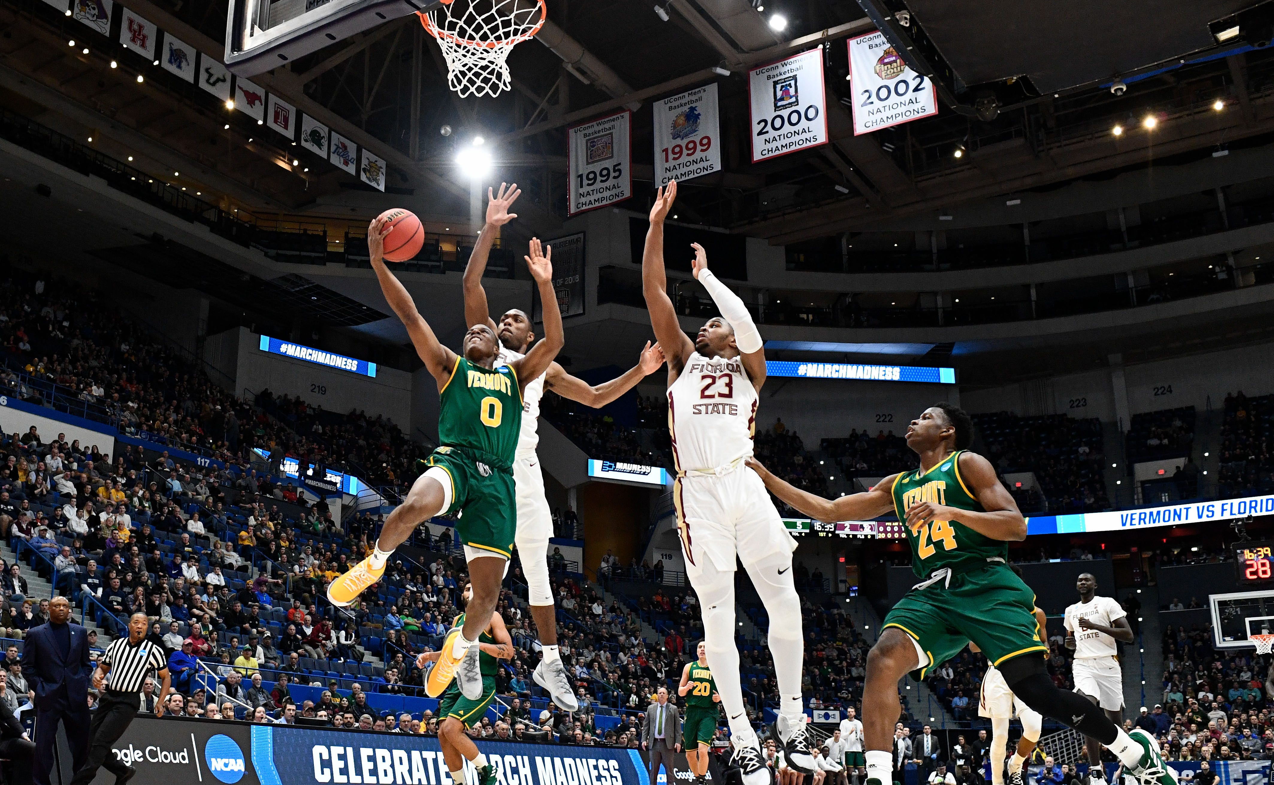 Vermont guard Stef Smith attempts a layup against Florida State during the first round the 2019 NCAA tournament.