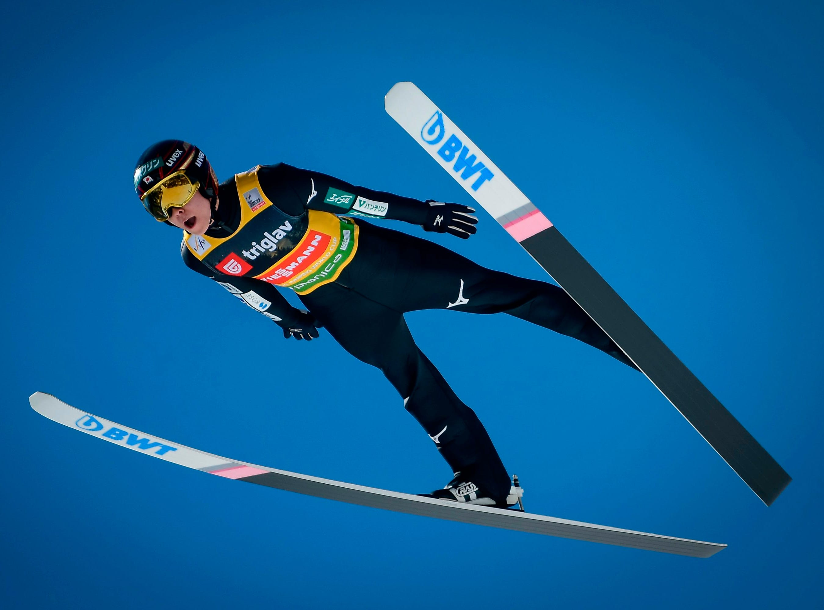 Ryoyu Kobayashi of Japan competes  during the qualifying round of the FIS Ski Jumping World Cup Men's Flying Hill Individual competition in Planica, Slovenia, on March 21, 2019.