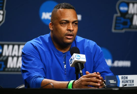 Georgia State coach Ron Hunter speaks to the media before the first round of the 2019 NCAA tournament.