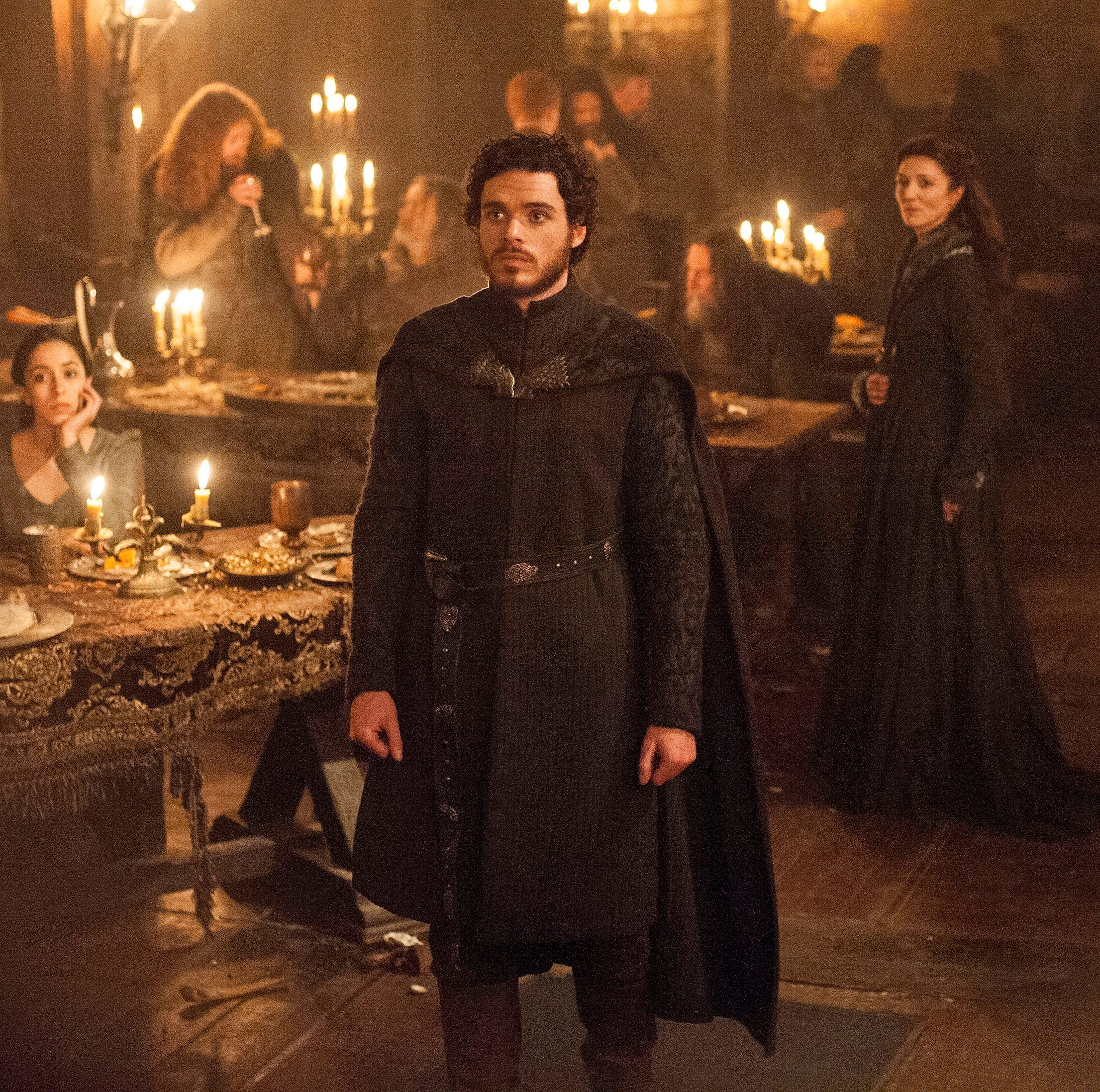 """Oona Chaplin as Talisa, Richard Madden as Robb Stark and Michelle Fairley as Catelyn Stark in """"The Rains of Castamere"""" episode of """"Game of Thrones."""""""