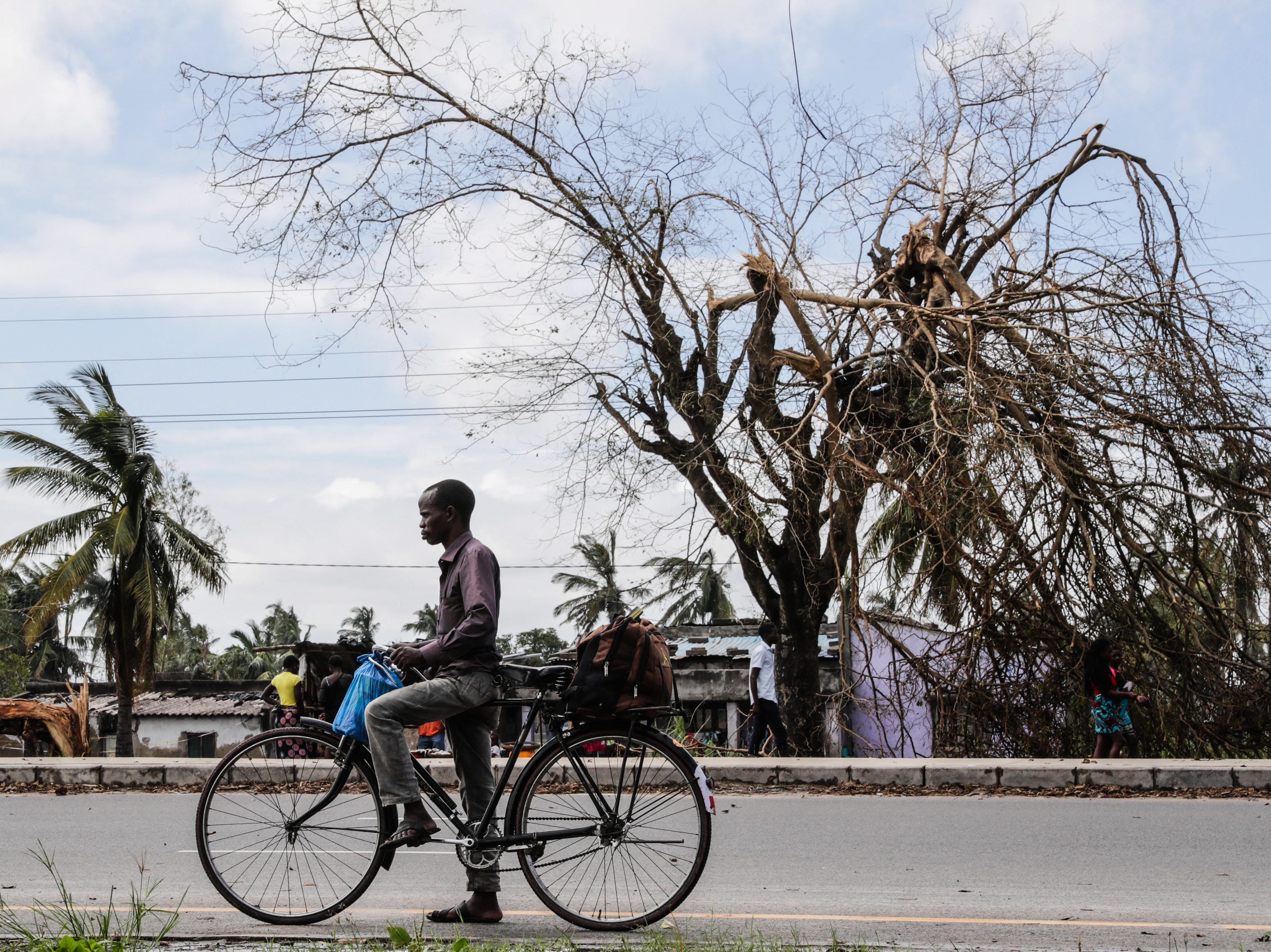 A man rides his bicycle down a road filled with destroyed trees after Cyclone Idai in Beira City, central Mozambique, on March 21, 2019.