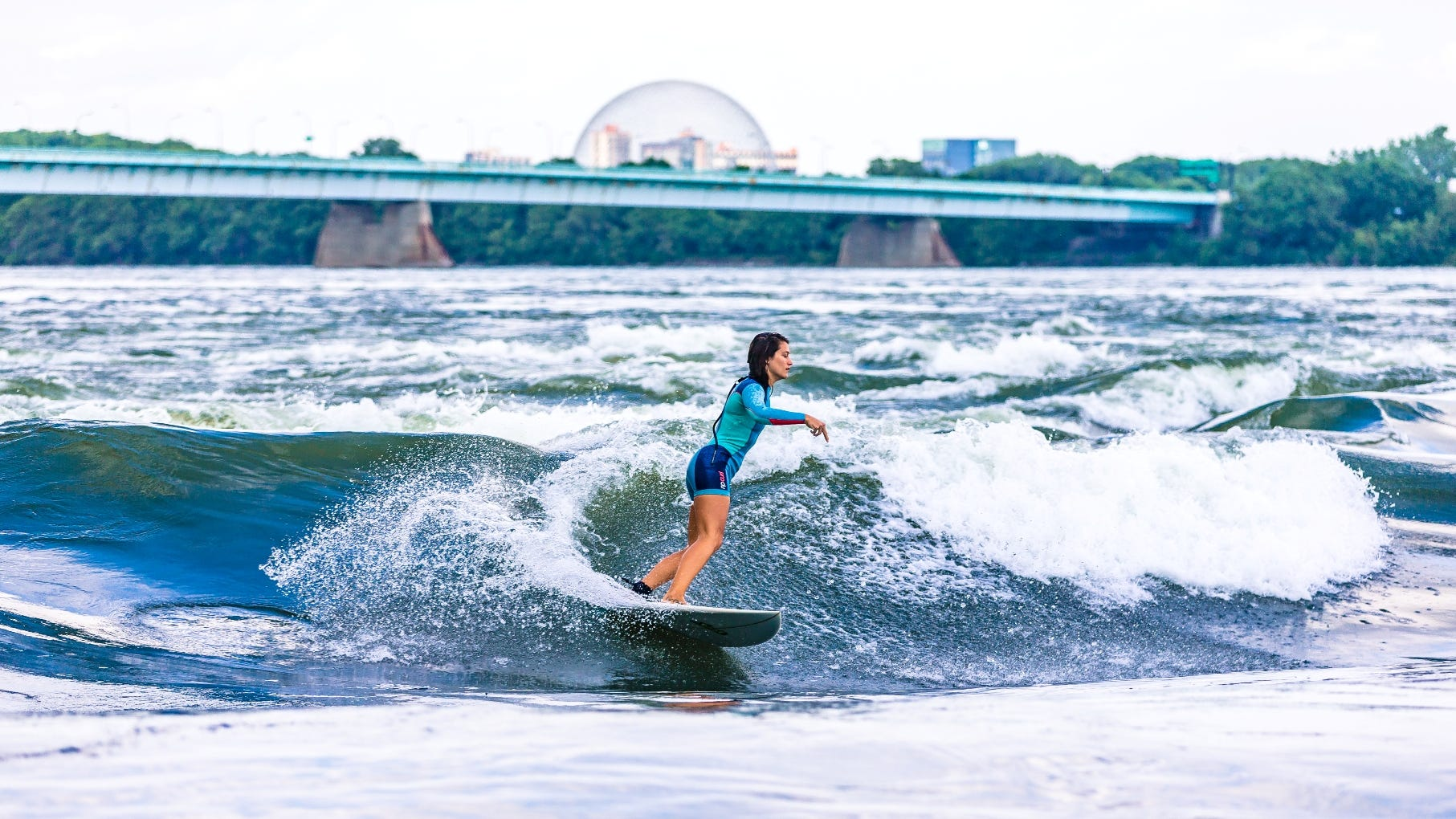 Montreal surfing centers on a standing wave in the St. Lawrence River caused by a river rapid.