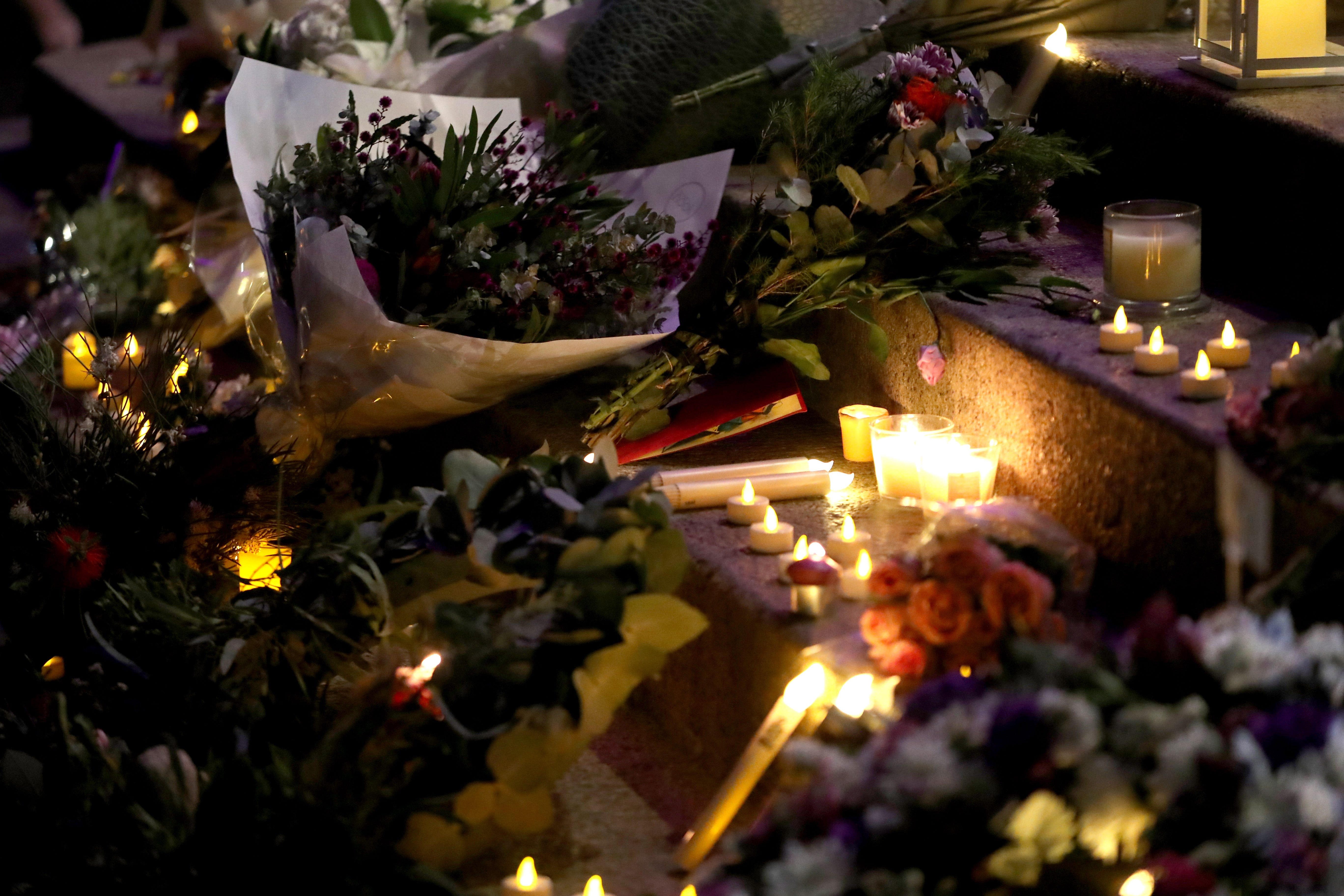 Flowers and candles are seen during a vigil to remember the victims of last week's terrorist attack on Christchurch's Al Noor Mosque and Linwood Islamic Centre in Adelaide, South Australia, Australia on March 21, 2019. A gunman killed 50 worshippers at the Al Noor Masjid and Linwood Masjid in Christchurch, New Zealand on March 15. A 28-year-old Australian suspect was charged with murder.