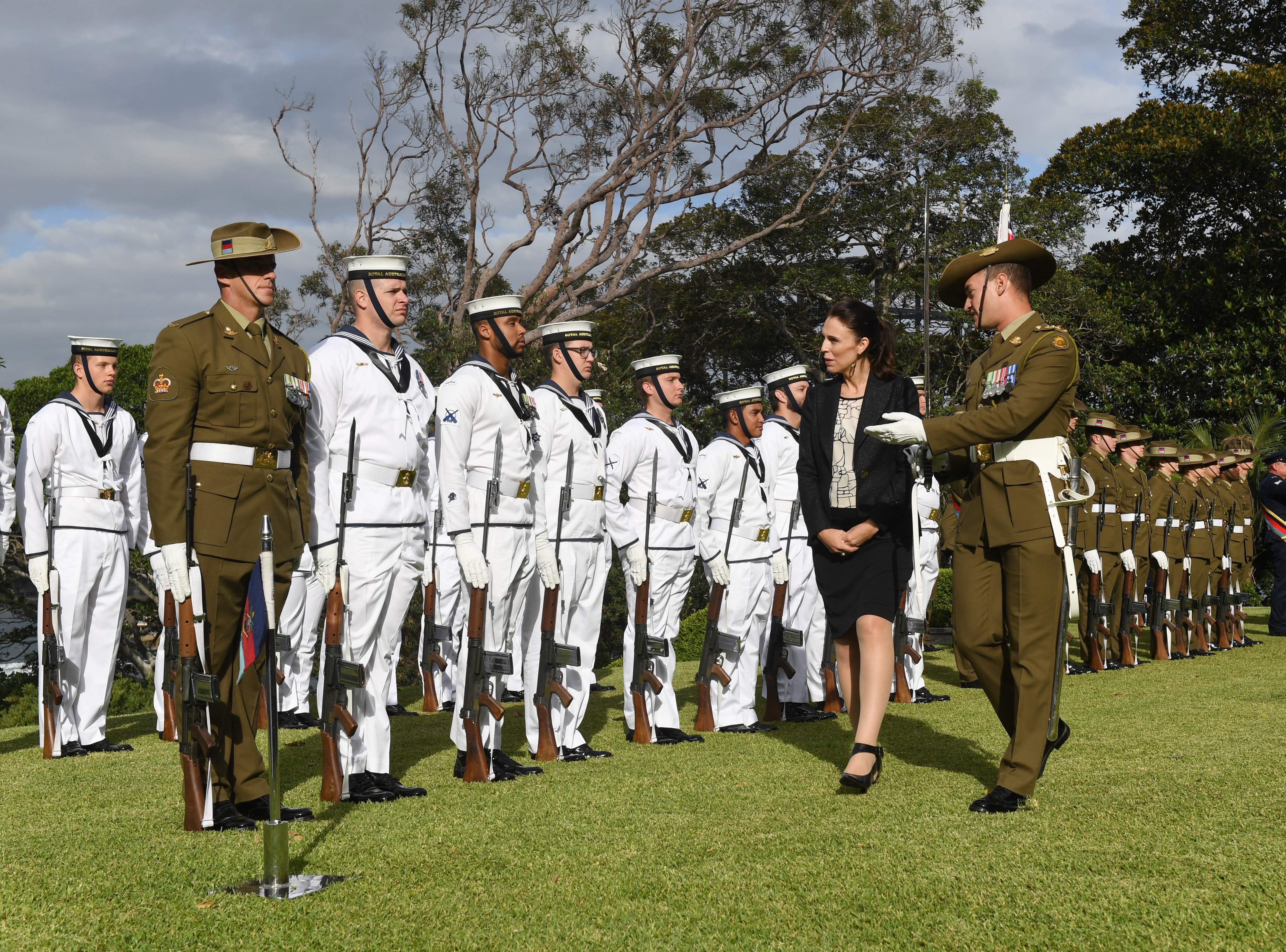 New Zealand's Prime Minister Jacinda Ardern inspects the troops at a ceremonial welcome at Admiralty House in Sydney on March 2, 2018. Ardern is with Australian Prime Minister Malcolm Turnbull for bilateral talks during her two-day visit.