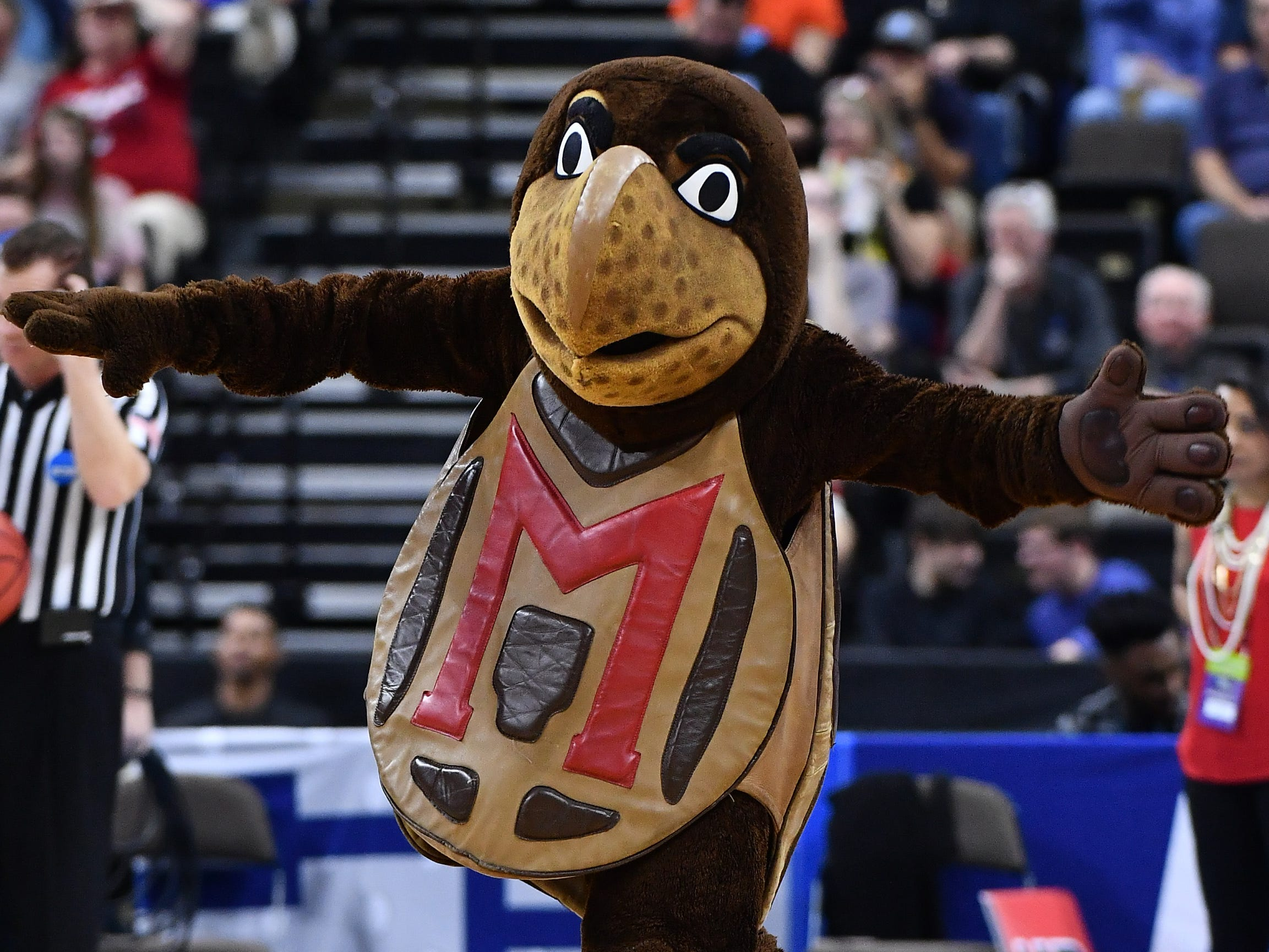 First round: The Maryland Terrapins mascot performs during the game against the Belmont Bruins.