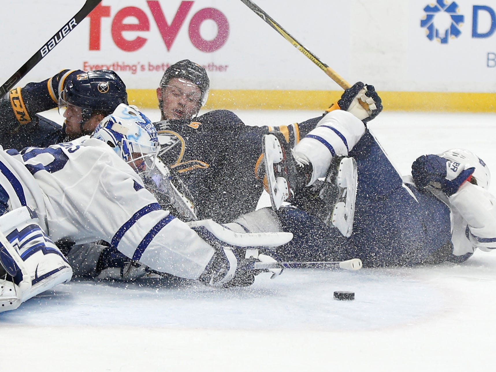 March 20: Toronto Maple Leafs goaltender Garret Sparks makes a save during a second-period goal-mouth scramble against the Buffalo Sabres.