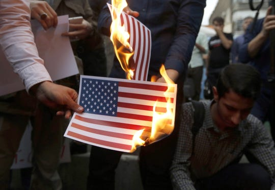 Anti-US protest in Tehran, Iran, on May 9, 2018.