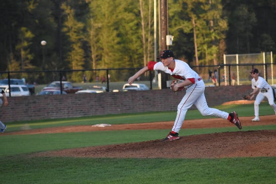 Tioga's Blake McGehee hurls a pitch against Deridder High School Thursday, March 21, 2019.