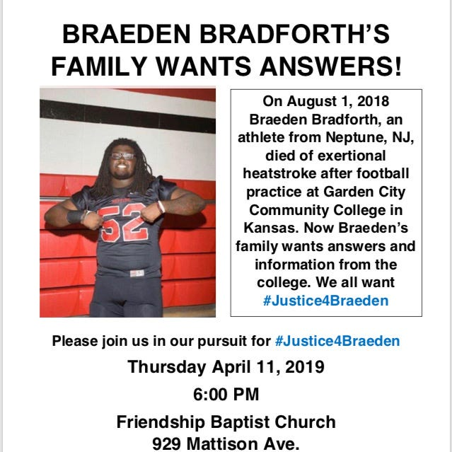 NJ football player death: Community rally for Braeden Bradforth tonight