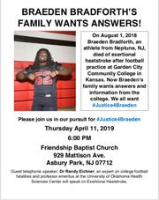 There will be a town hall-style meeting for community members as outrage grows over the lack of transparency surrounding the circumstances of Braeden Bradforth's death playing football at a Kansas junior college.