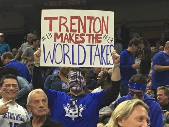 A Seton Hall fan holds up a sign about Trenton native Myles Powell at Veterans Memorial Arena in Jacksonville.