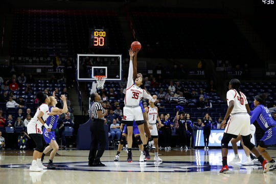 Mar 22, 2019; Storrs, CT, USA; The Rutgers Scarlet Knights tip off against the Buffalo Bulls during the first half in the first round of the 2019 NCAA Womens Tournament at Gampel Pavilion. Mandatory Credit: David Butler II-USA TODAY Sports