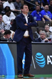 Abilene Christian Wildcats head coach Joe Golding looks on from the sidelines during the first half in the first round of the 2019 NCAA Tournament against the Kentucky Wildcats at Jacksonville Veterans Memorial Arena.