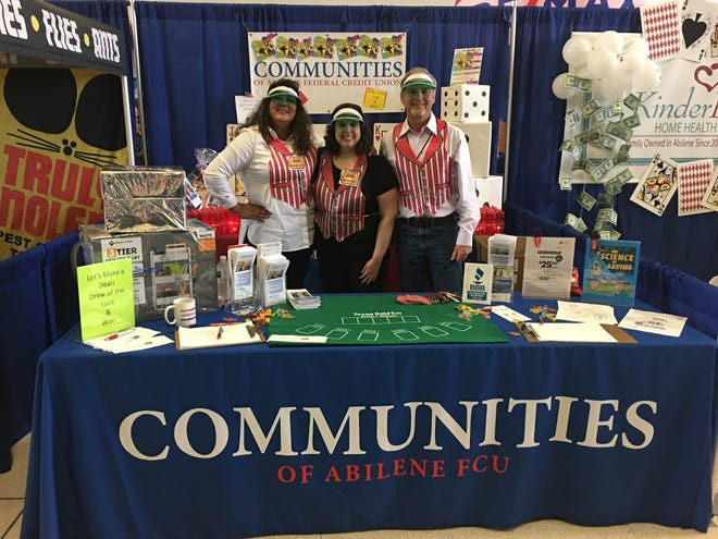 Linda Barfield, Jessie Fickel  and Lou Zientek in a 2018 booth at Business Expo for Communities of Abilene Federal Credit Union.