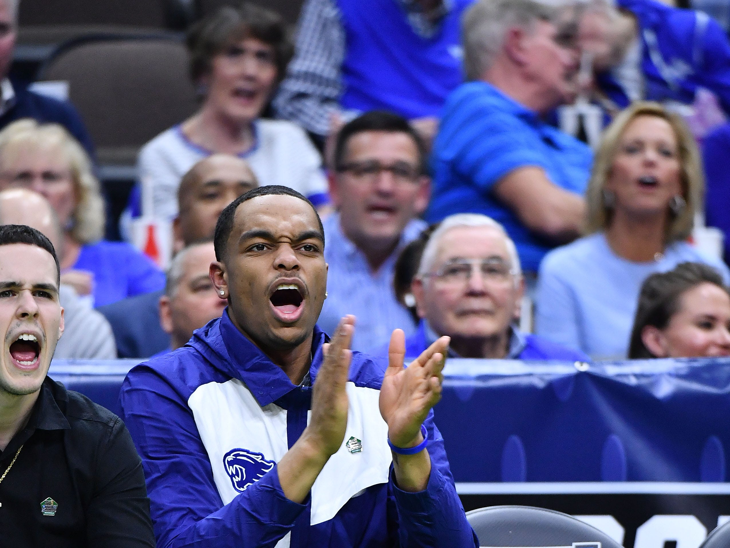 Mar 21, 2019; Jacksonville, FL, USA; Kentucky Wildcats forward PJ Washington (25) reacts on the bench during the second half in the first round of the 2019 NCAA Tournament against the Abilene Christian Wildcats at Jacksonville Veterans Memorial Arena. Mandatory Credit: John David Mercer-USA TODAY Sports