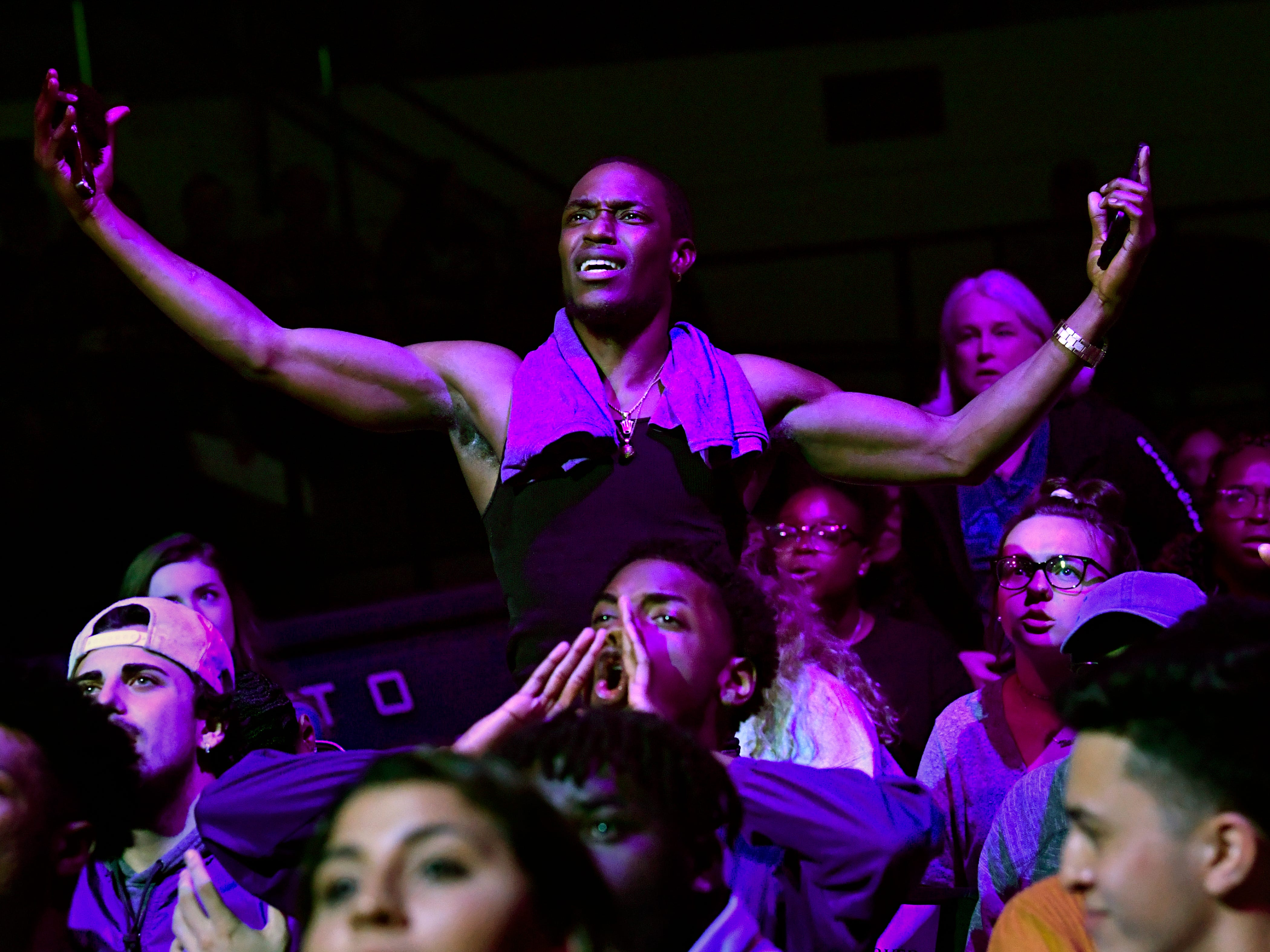 I. J. Bapeli raises his arms in frustration at at an official's call during a watch party in Moody Coliseum for the NCAA Tournament game in Florida between Abilene Christian University and the University of Kentucky Thursday March 21, 2019. Final score was 79-44, Kentucky.