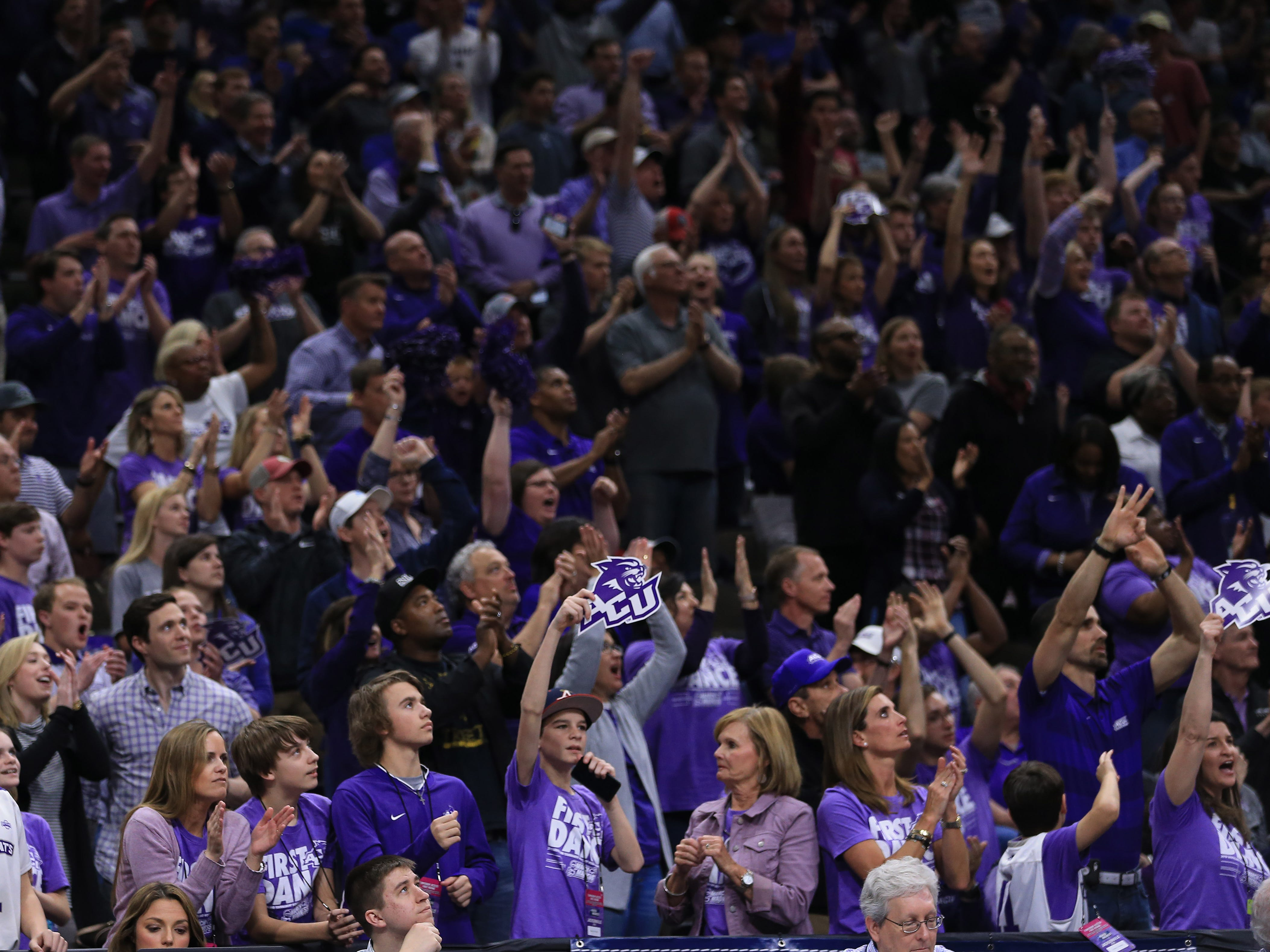 Mar 21, 2019; Jacksonville, FL, USA; Abilene Christian Wildcats fans cheer from the stands during the first half against the Kentucky Wildcats in the first round of the 2019 NCAA Tournament at Jacksonville Veterans Memorial Arena. Mandatory Credit: Matt Stamey-USA TODAY Sports