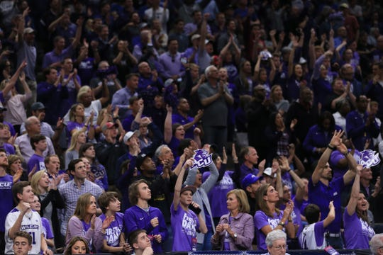 Abilene Christian Wildcats fans cheer from the stands during the first half against the Kentucky Wildcats in the first round of the 2019 NCAA Tournament at Jacksonville Veterans Memorial Arena.