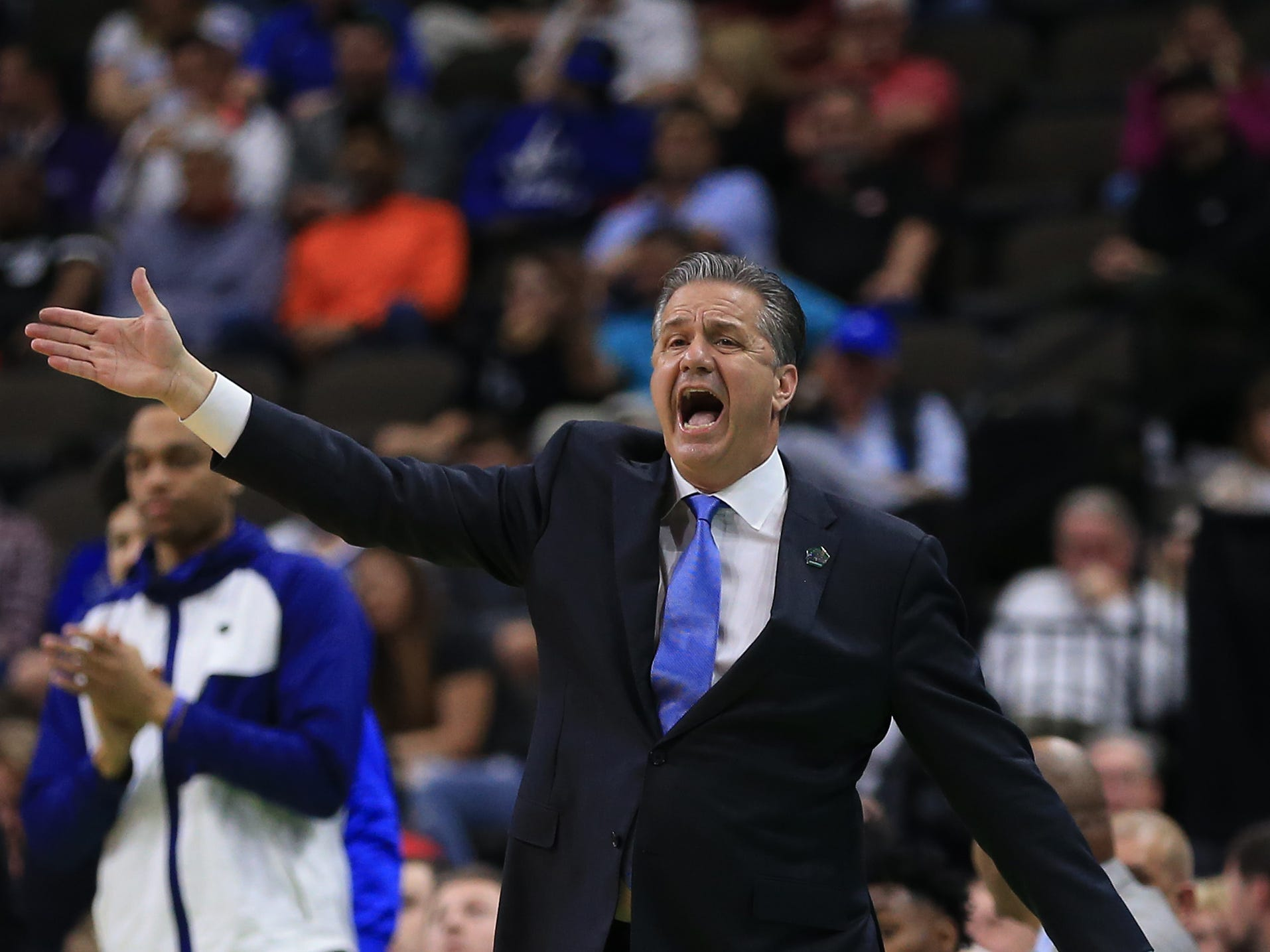 Mar 21, 2019; Jacksonville, FL, USA; Kentucky Wildcats head coach John Calipari reacts on the sidelines against the Abilene Christian Wildcats during the first half in the first round of the 2019 NCAA Tournament at Jacksonville Veterans Memorial Arena. Mandatory Credit: Matt Stamey-USA TODAY Sports
