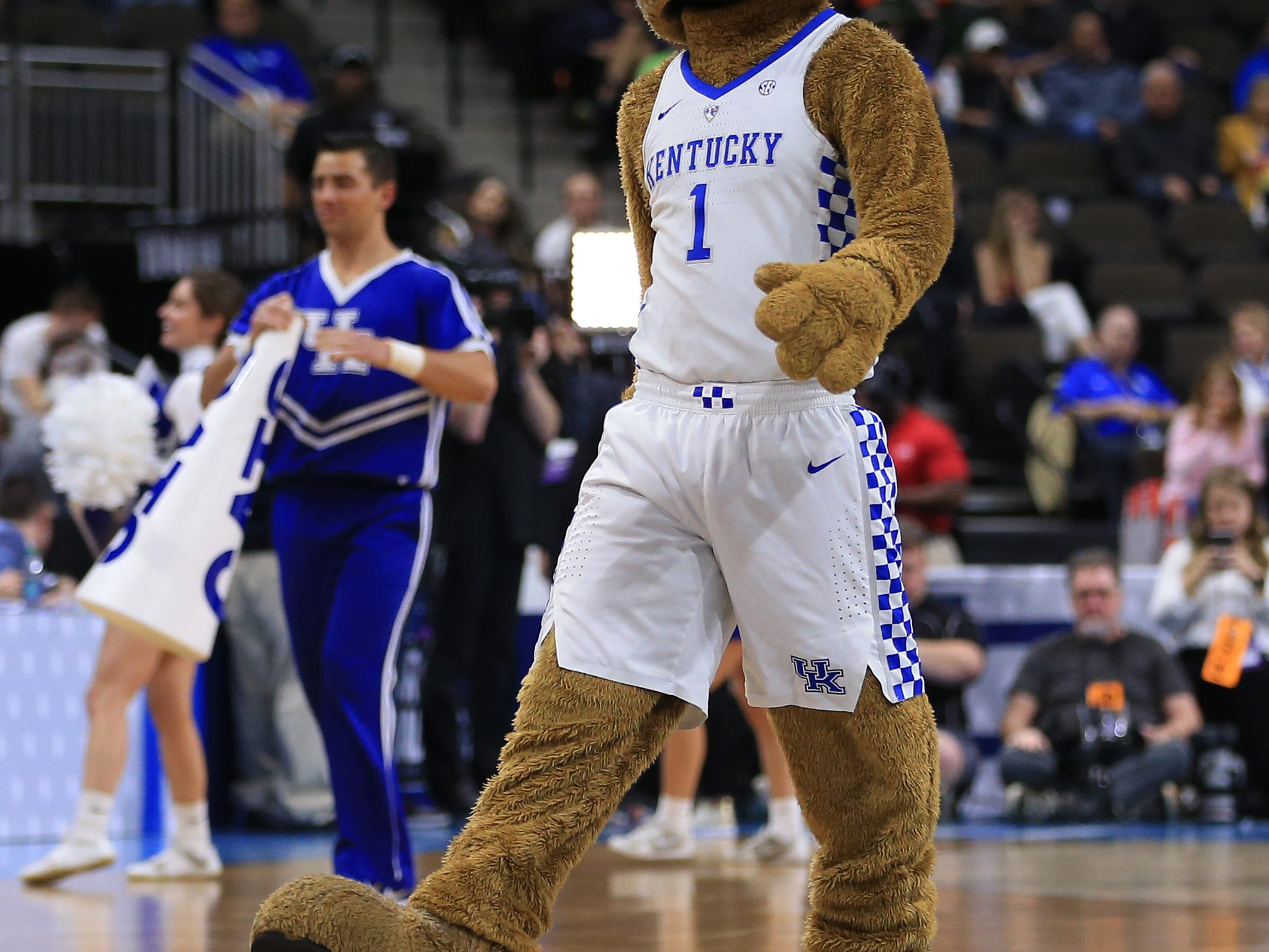 Mar 21, 2019; Jacksonville, FL, USA; The Kentucky Wildcats mascot looks on from the court during a stoppage in play in the first half in the first round of the 2019 NCAA Tournament against the Abilene Christian Wildcats at Jacksonville Veterans Memorial Arena. Mandatory Credit: Matt Stamey-USA TODAY Sports