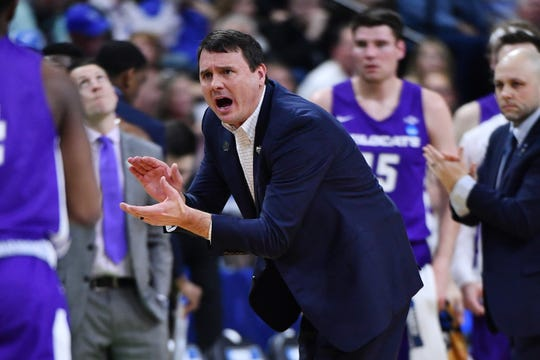 Abilene Christian Wildcats head coach Joe Golding reacts after a play during the first half in the first round of the 2019 NCAA Tournament against the Kentucky Wildcats at Jacksonville's Veterans Memorial Arena.