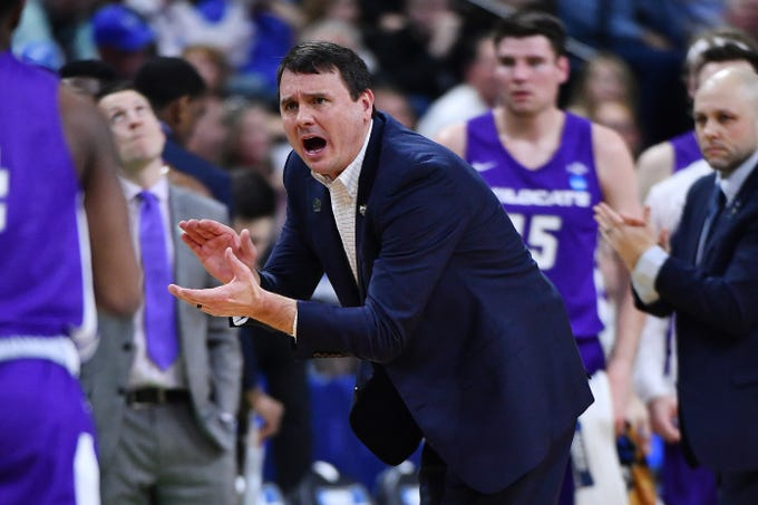 Mar 21, 2019; Jacksonville, FL, USA; Abilene Christian Wildcats head coach Joe Golding reacts after a play during the first half in the first round of the 2019 NCAA Tournament against the Kentucky Wildcats at Jacksonville Veterans Memorial Arena. Mandatory Credit: John David Mercer-USA TODAY Sports