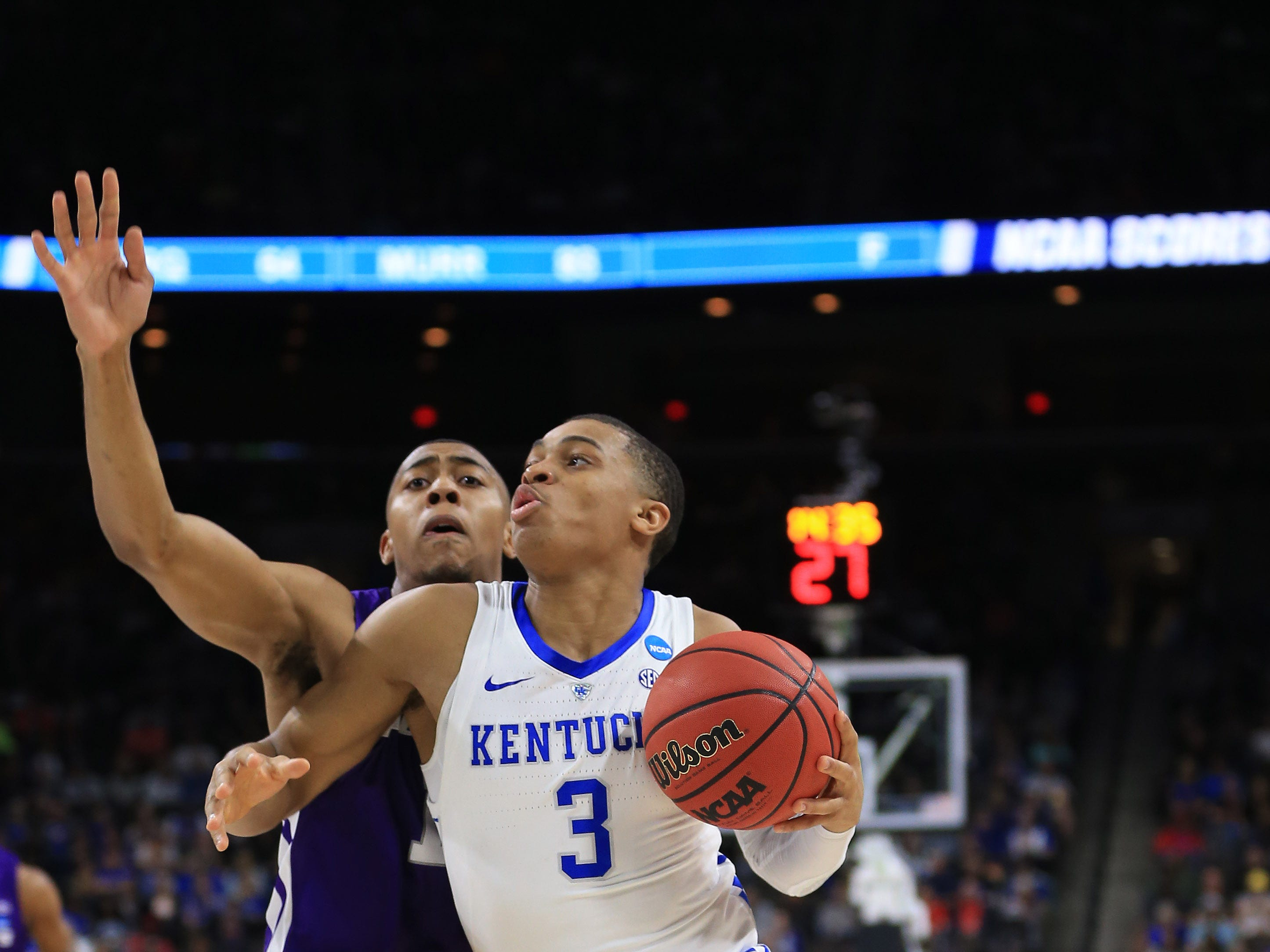 Mar 21, 2019; Jacksonville, FL, USA; Kentucky Wildcats guard Keldon Johnson (3) dribbles the ball as Abilene Christian Wildcats forward Jaren Lewis (1) defends during the first half in the first round of the 2019 NCAA Tournament at Jacksonville Veterans Memorial Arena. Mandatory Credit: Matt Stamey-USA TODAY Sports