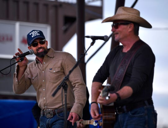 "Mark Powell sings ""Second-hand Smoke"" with Jamie Richards Friday afternoon at Outlaws & Legends."