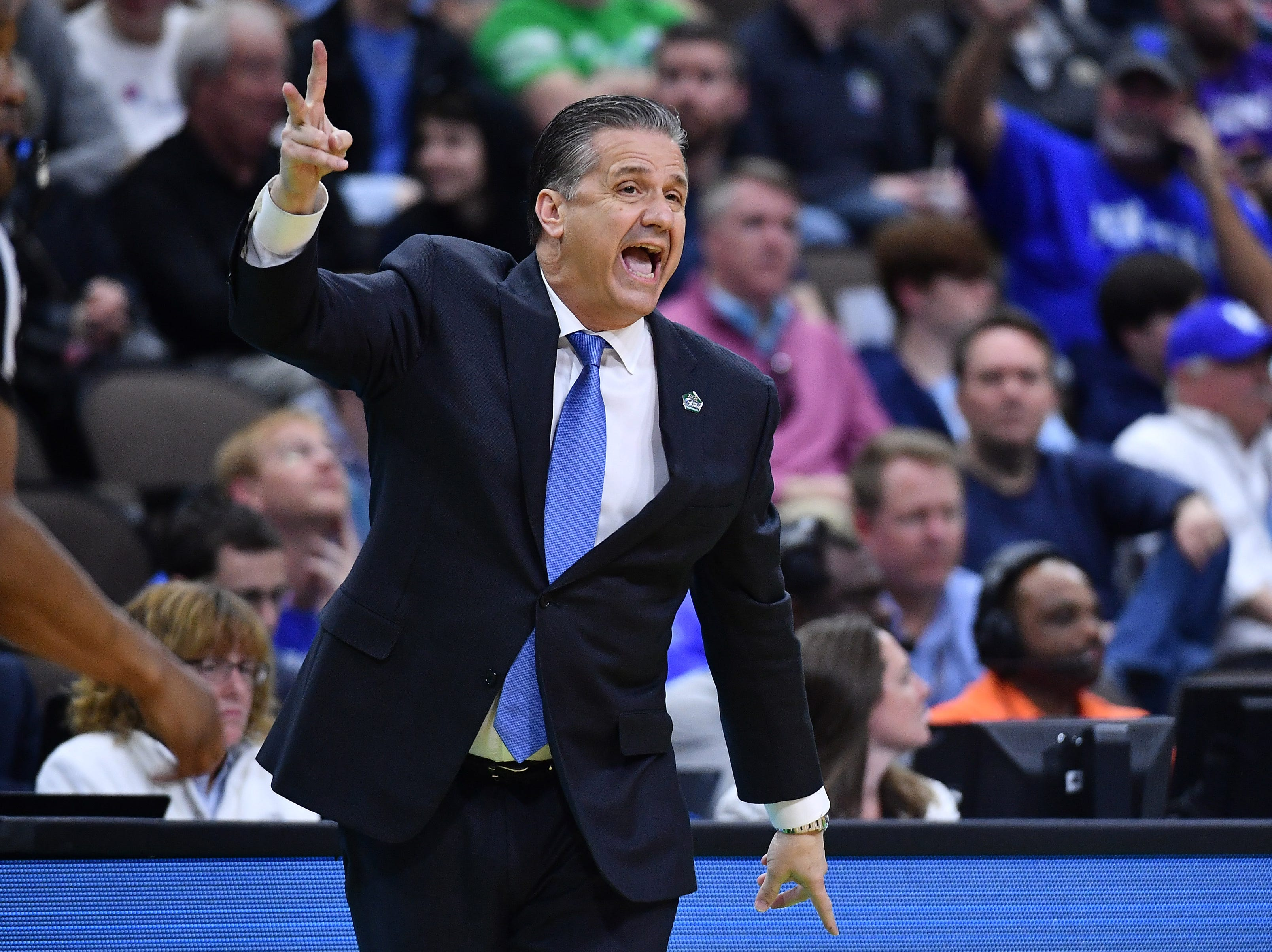Mar 21, 2019; Jacksonville, FL, USA; Kentucky Wildcats head coach John Calipari yells from the sidelines against the Abilene Christian Wildcats during the first half in the first round of the 2019 NCAA Tournament at Jacksonville Veterans Memorial Arena. Mandatory Credit: John David Mercer-USA TODAY Sports