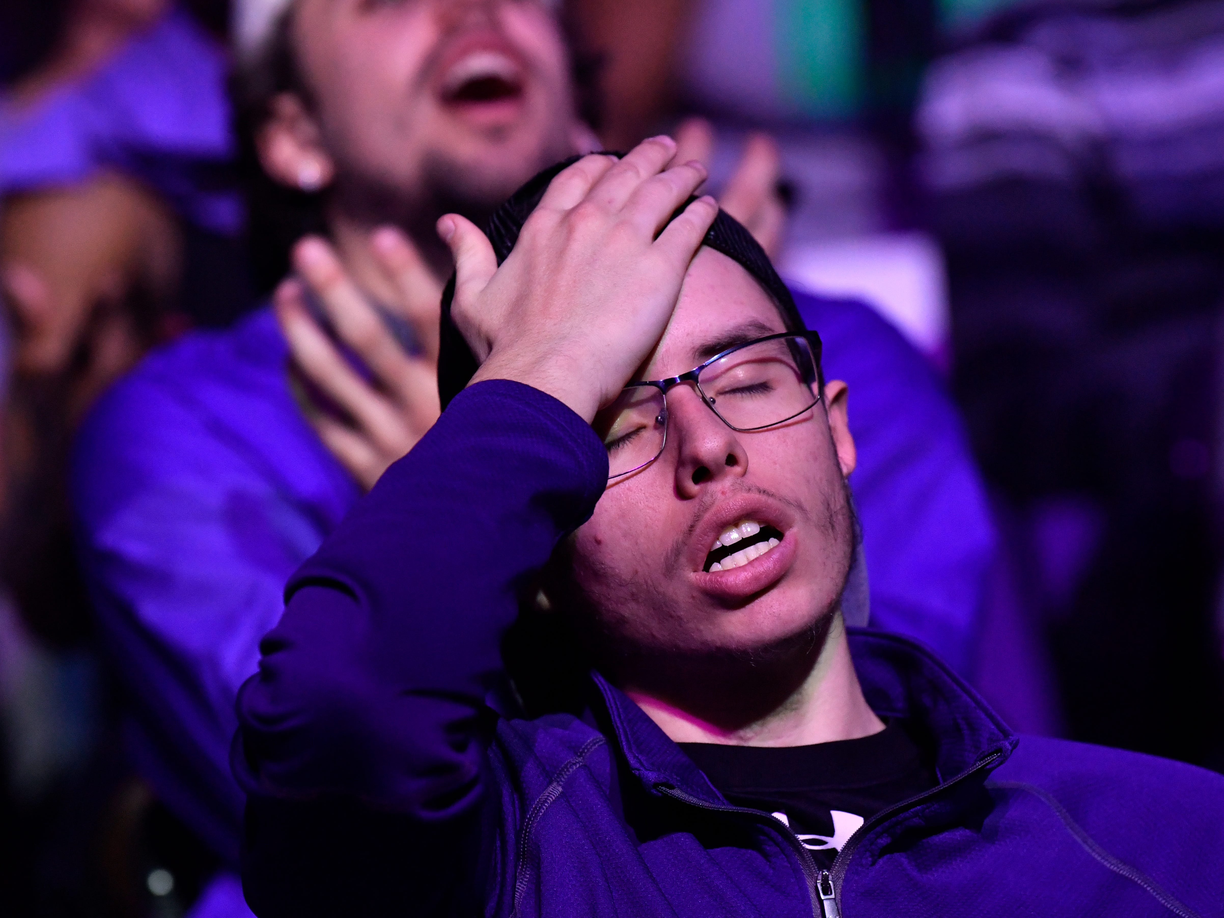 Garrett White reacts to a missed shot by the Wildcats while watching Abilene Christian University play the University of Kentucky at a watch party in Moody Coliseum Thursday March 21, 2019. This was the ACU men's first-ever trip to the NCAA Tournament. Final score was 79-44, Kentucky.