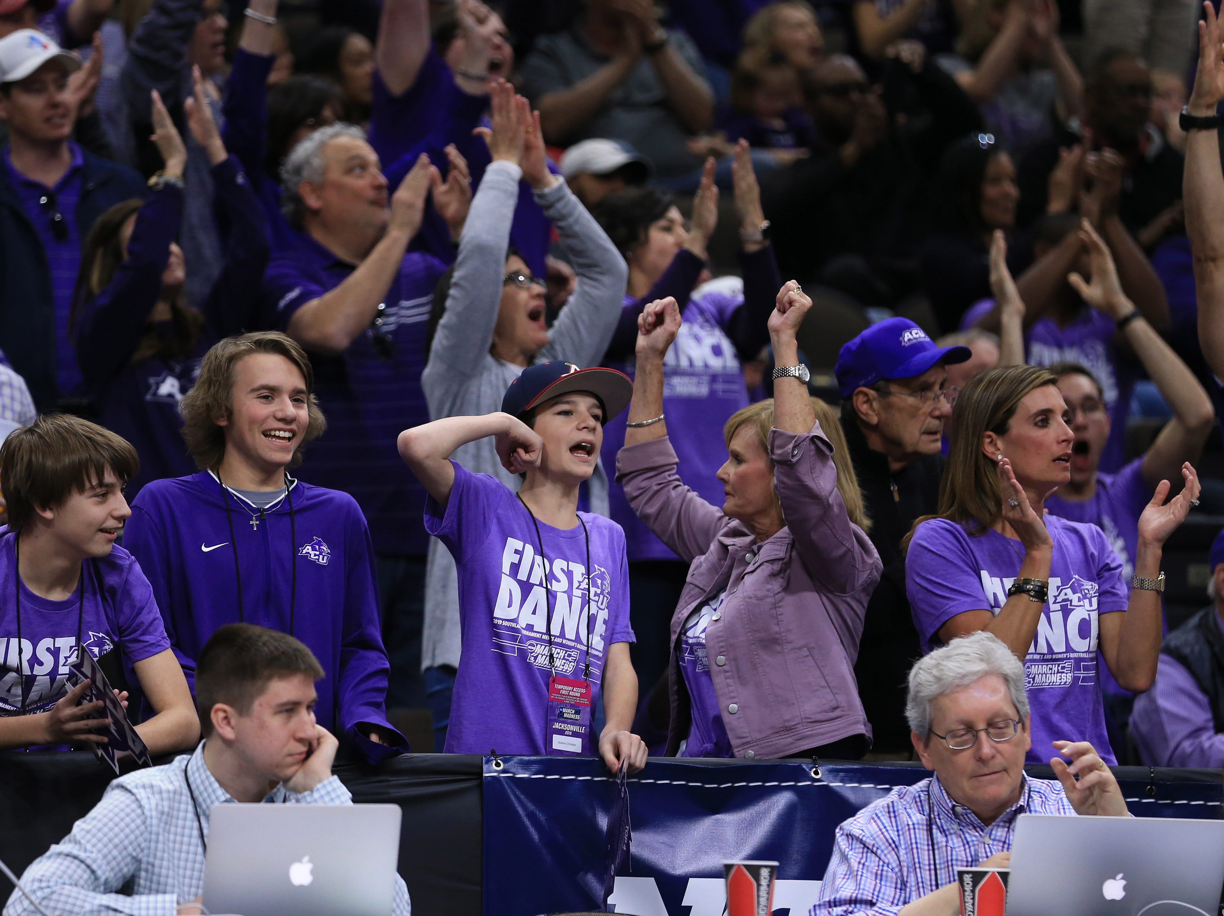 Mar 21, 2019; Jacksonville, FL, USA; Abilene Christian Wildcats fans react form the stands during the first half against the Kentucky Wildcats in the first round of the 2019 NCAA Tournament at Jacksonville Veterans Memorial Arena. Mandatory Credit: Matt Stamey-USA TODAY Sports